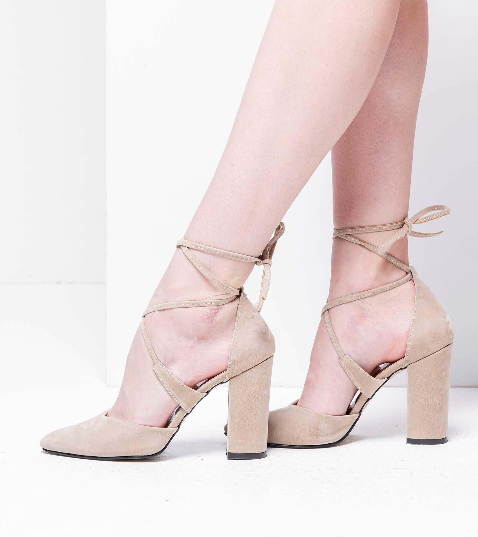 Dory Yüksek Topuk İpli Süet Ayakkabı Ten