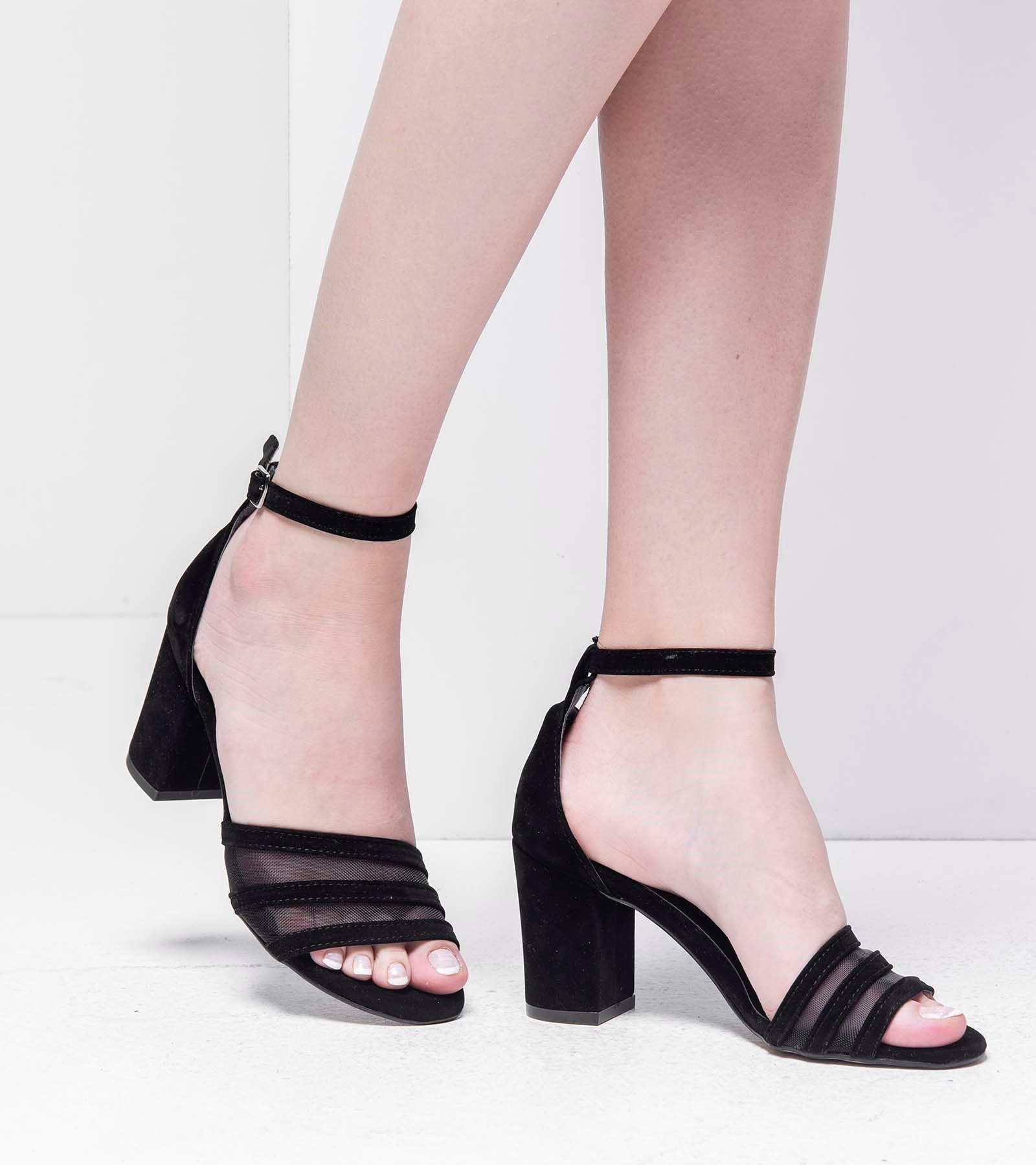 Fanetta Arkası Kapalı Transparan Süet Ayakkabı Siyah