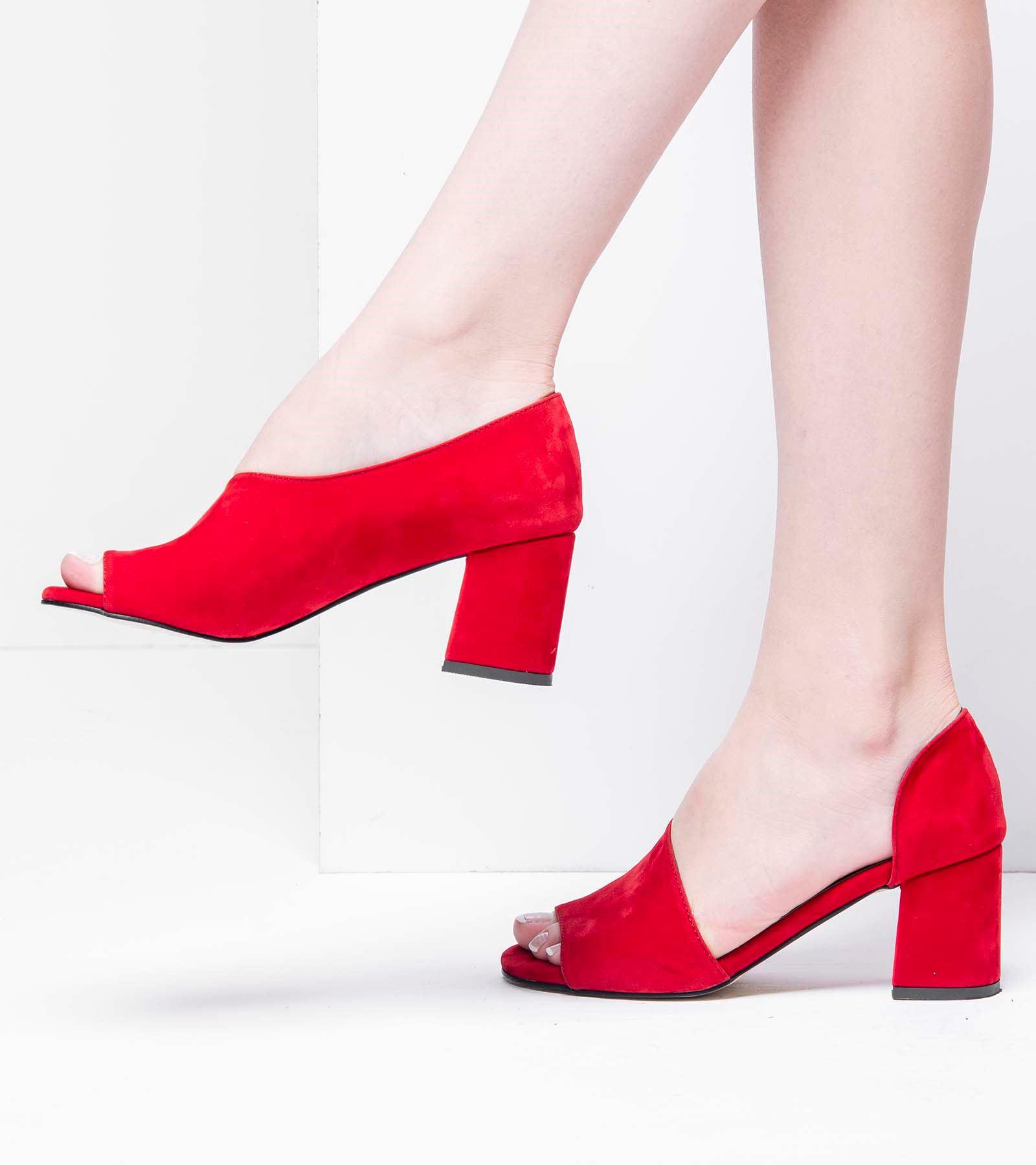 Olivia Topuklu  Önü Açık Süet Ayakkabı Kırmızı