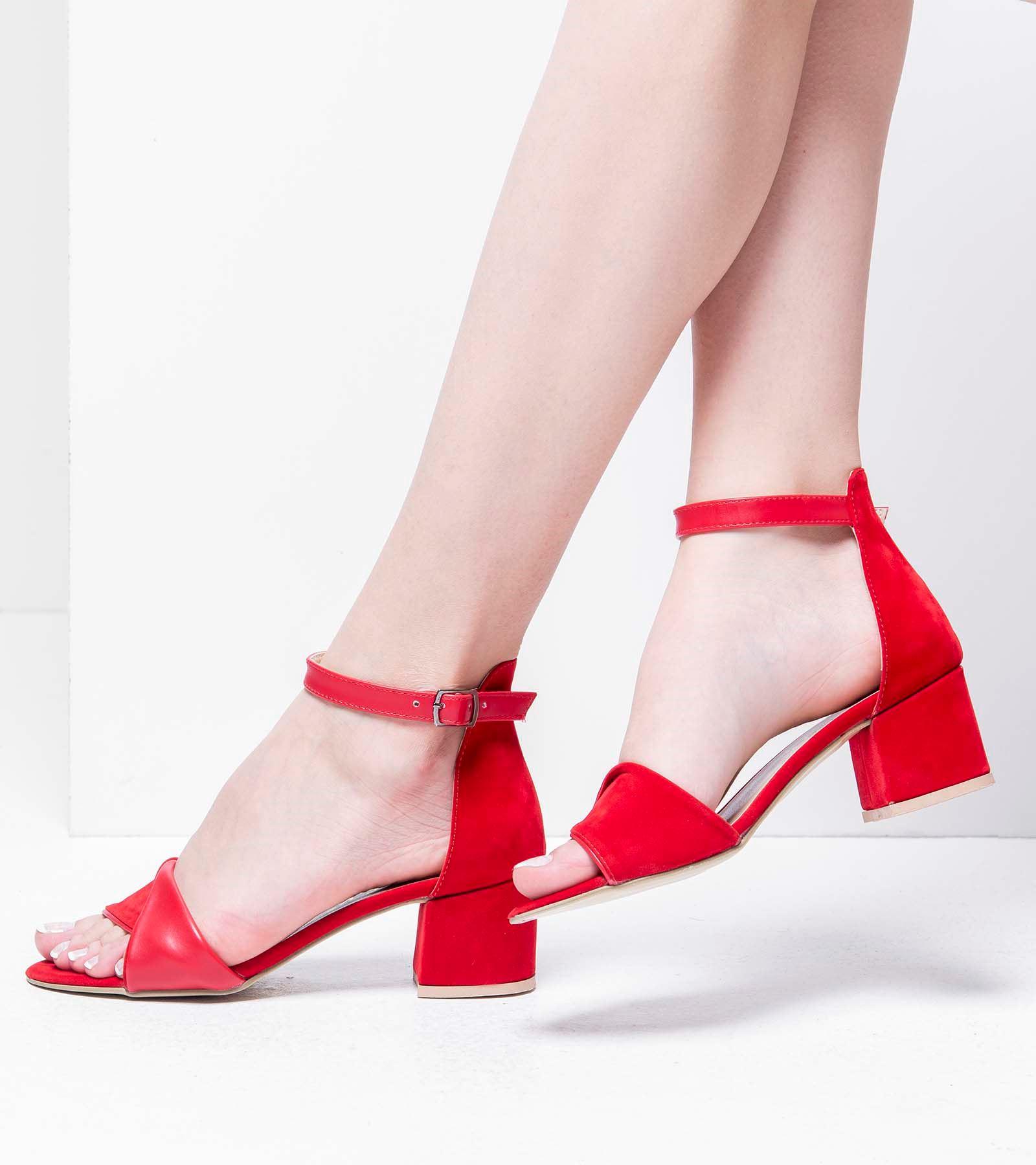 Emily Topuklu Süet Ayakkabı Kırmızı