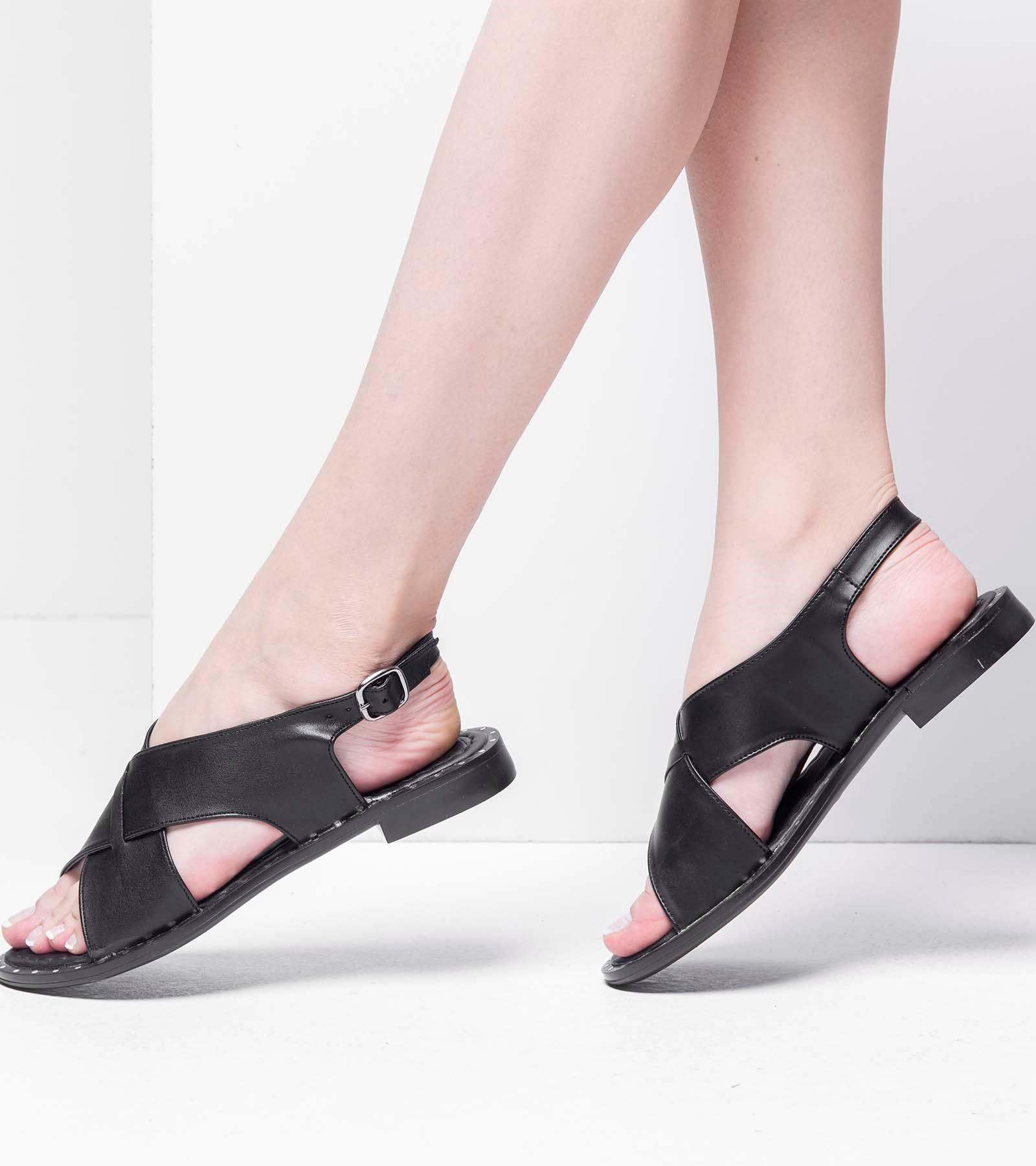 Alana Deri Sandalet Siyah