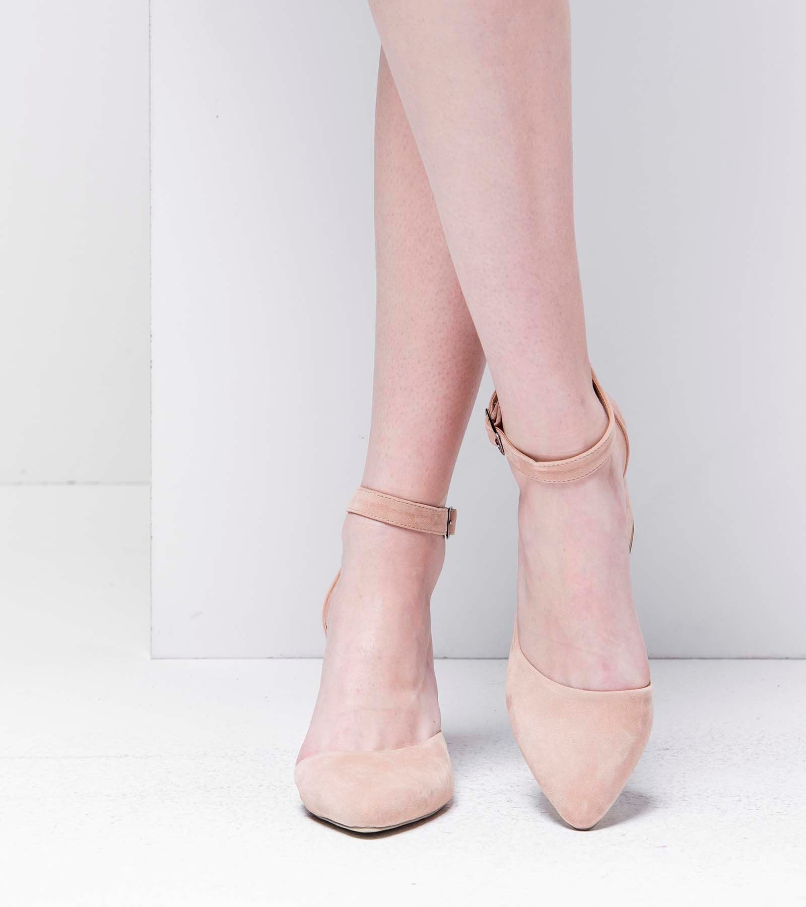 Lisa Topuklu Süet Ayakkabı Pudra