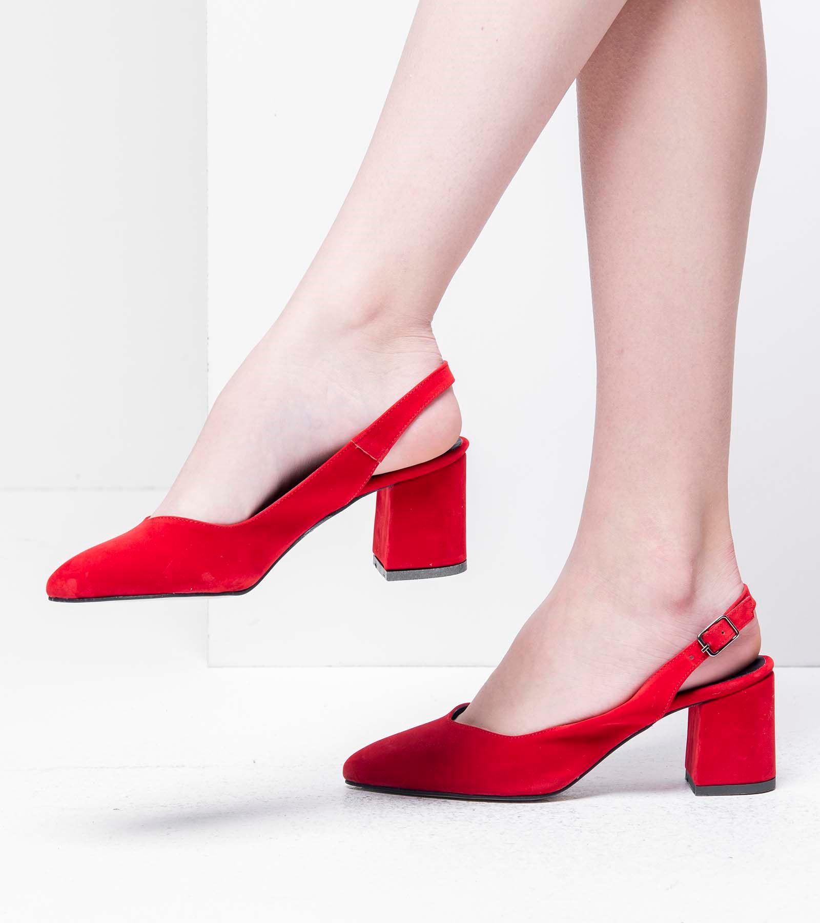 Lia Arkası Açık Topuklu Süet Ayakkabı Kırmızı
