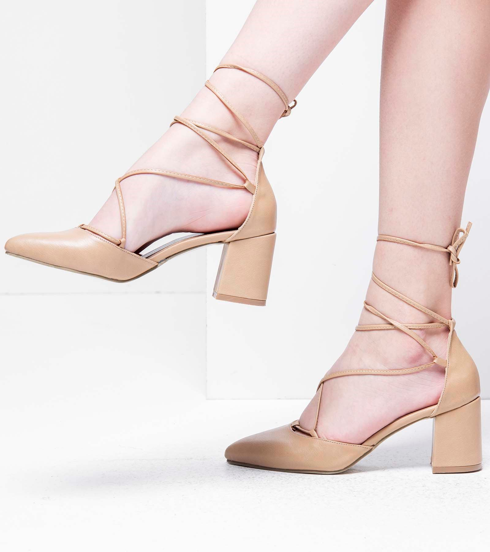 Loren Topuklu Bağcıklı Cilt Ayakkabı Nude