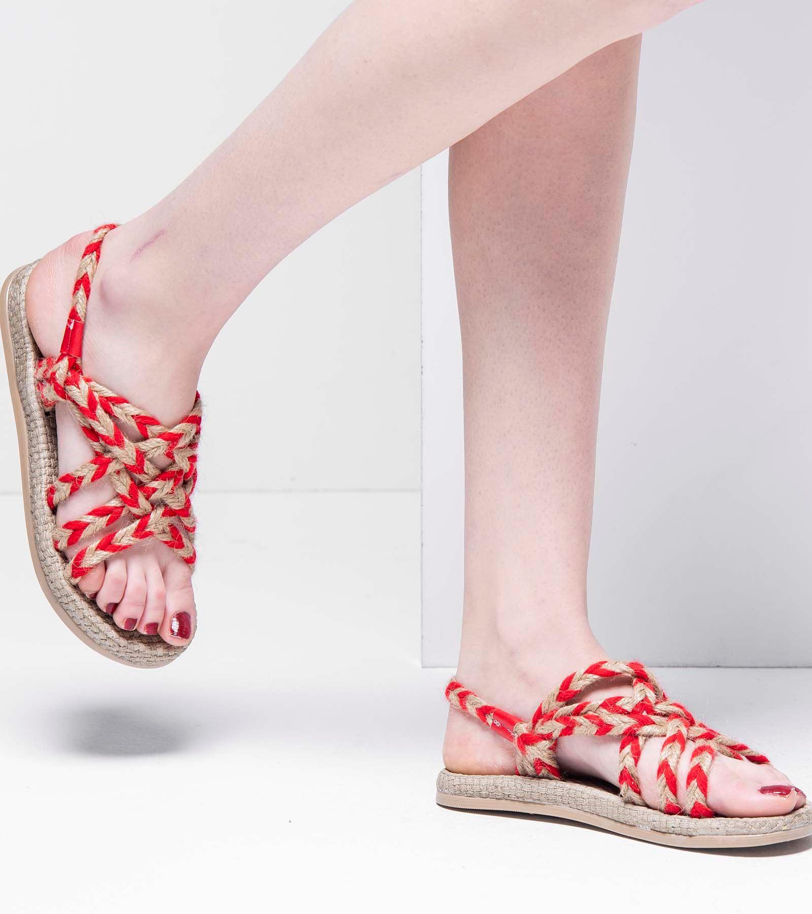 Emma Dolgu Taban Halat İpli Sandalet Kırmızı