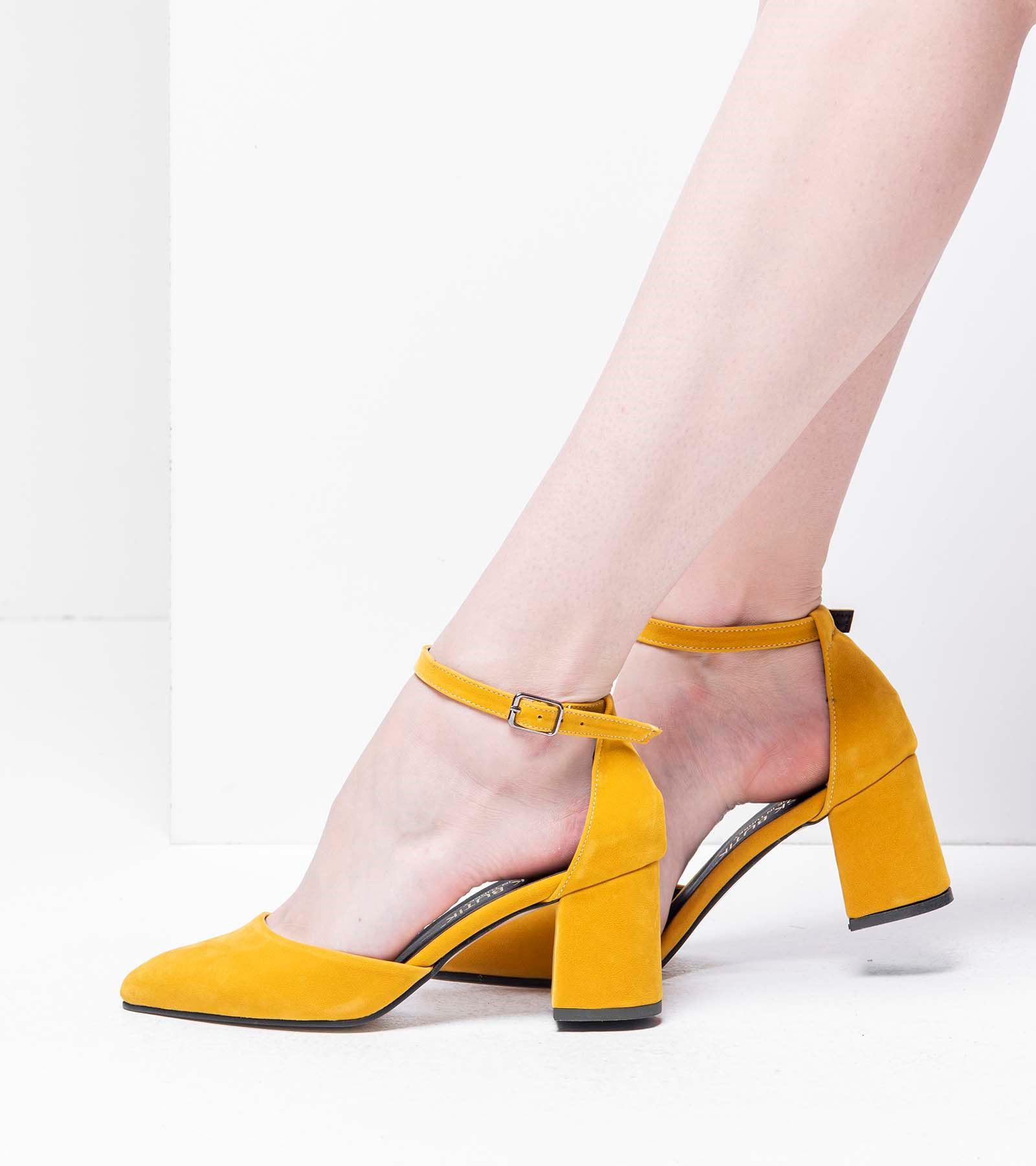 Lisa Topuklu Süet Ayakkabı Hardal