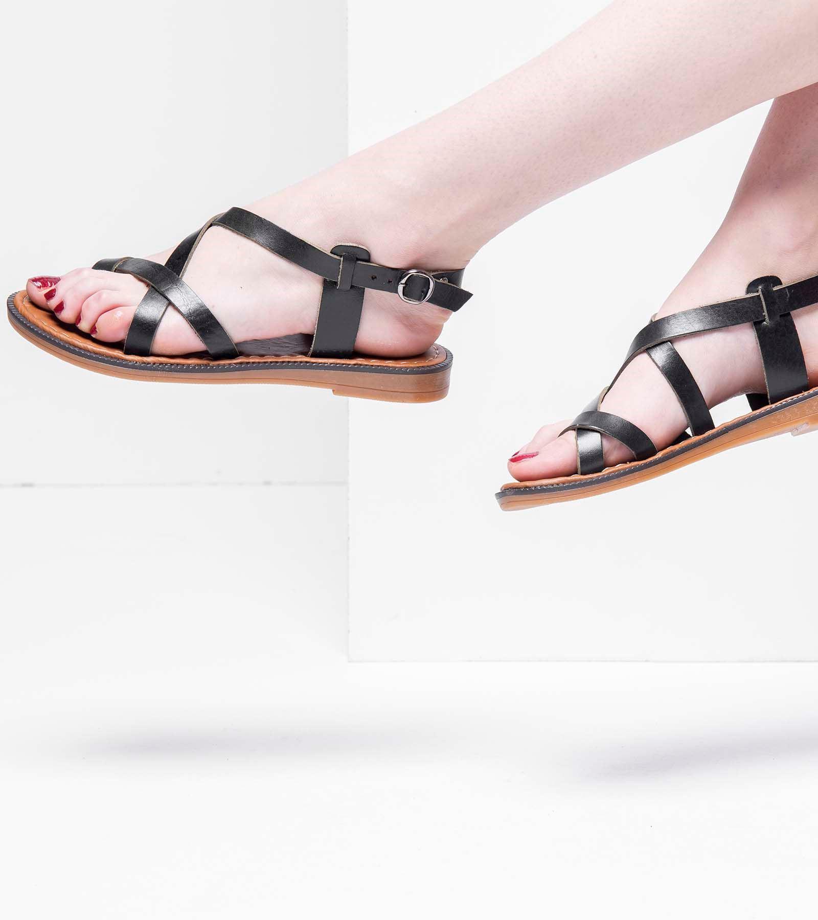 Elsa Deri Parmak Arası Sandalet Siyah