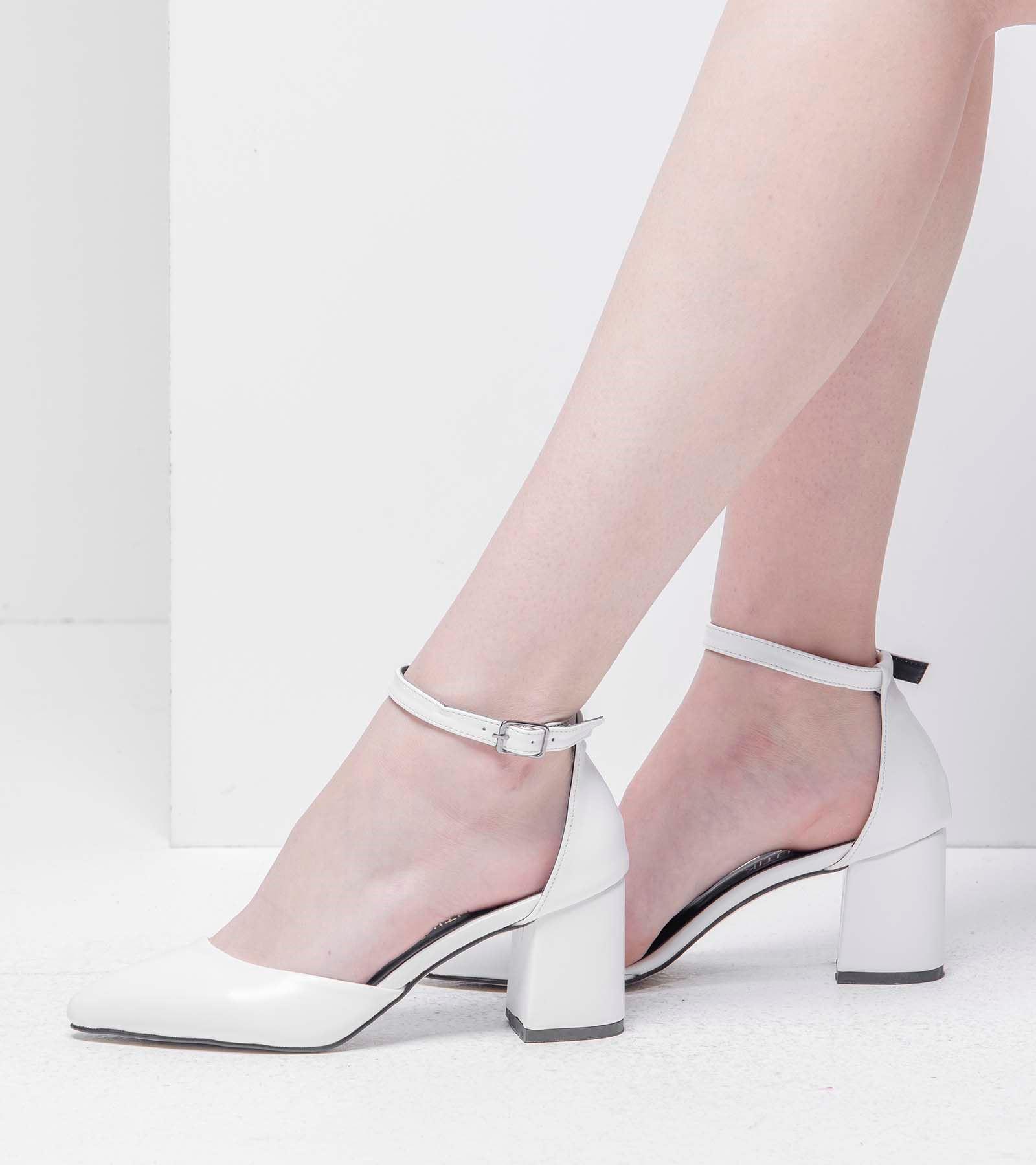 Lina Topuklu Cilt Ayakkabı Beyaz