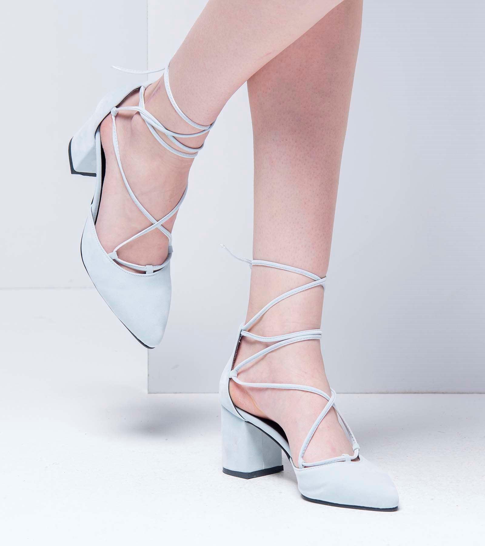 Lucy Topuklu Bağcıklı Süet Ayakkabı Bebe Mavisi