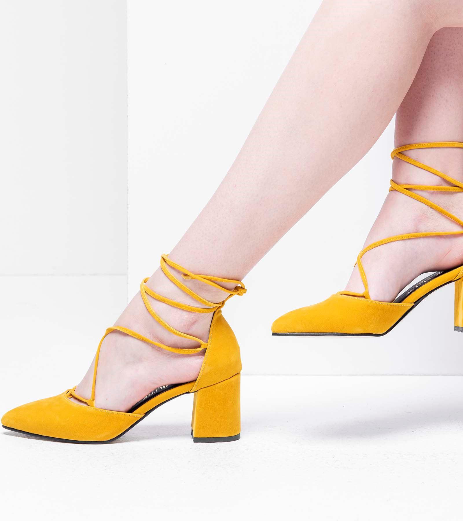 Lucy Topuklu Bağcıklı Süet Ayakkabı Hardal