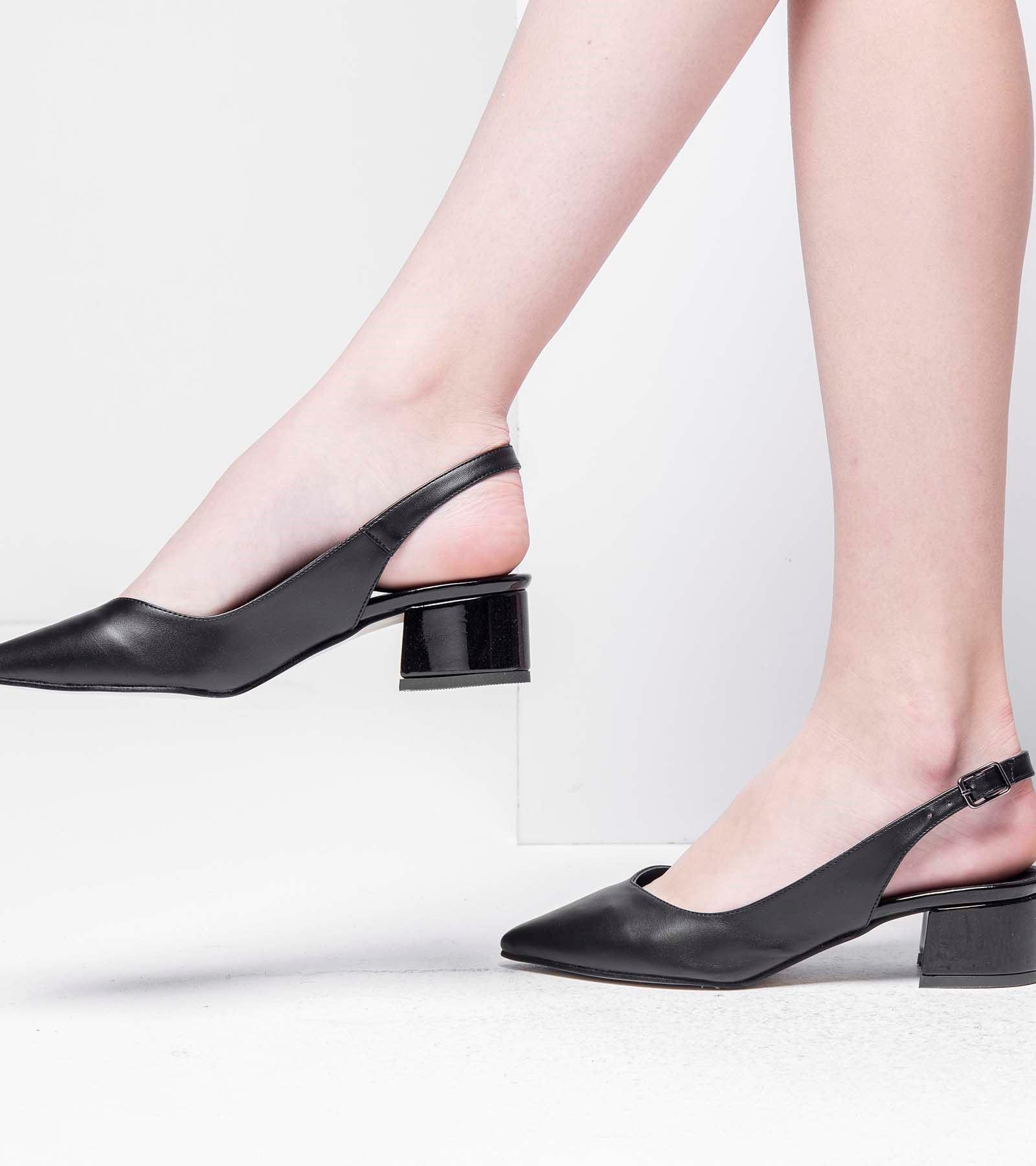 Tanya Topuğu Rugan Cilt Ayakkabı Siyah Deri