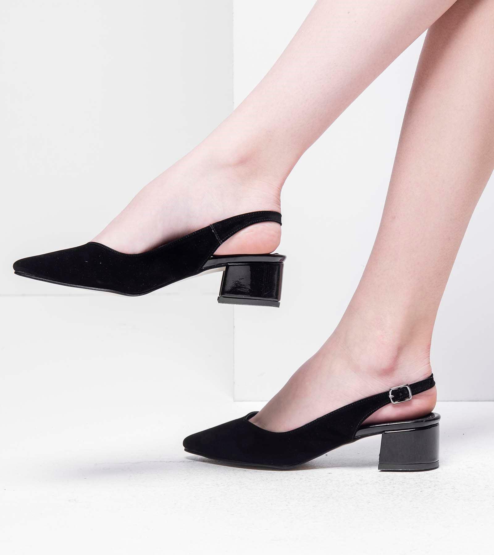 Tanya Topuğu Rugan Süet Ayakkabı Siyah