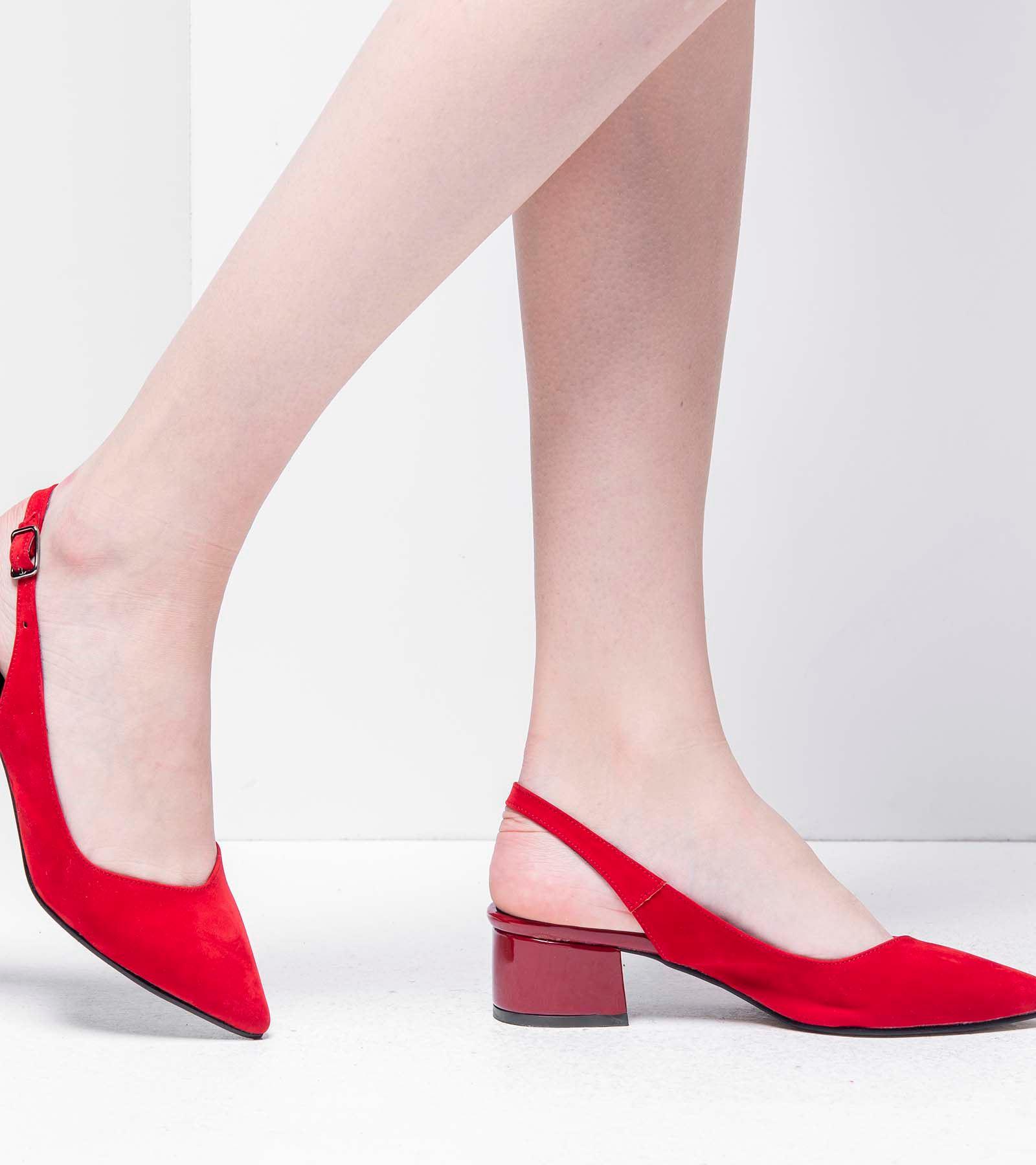 Tanya Topuğu Rugan Süet Ayakkabı Kırmızı