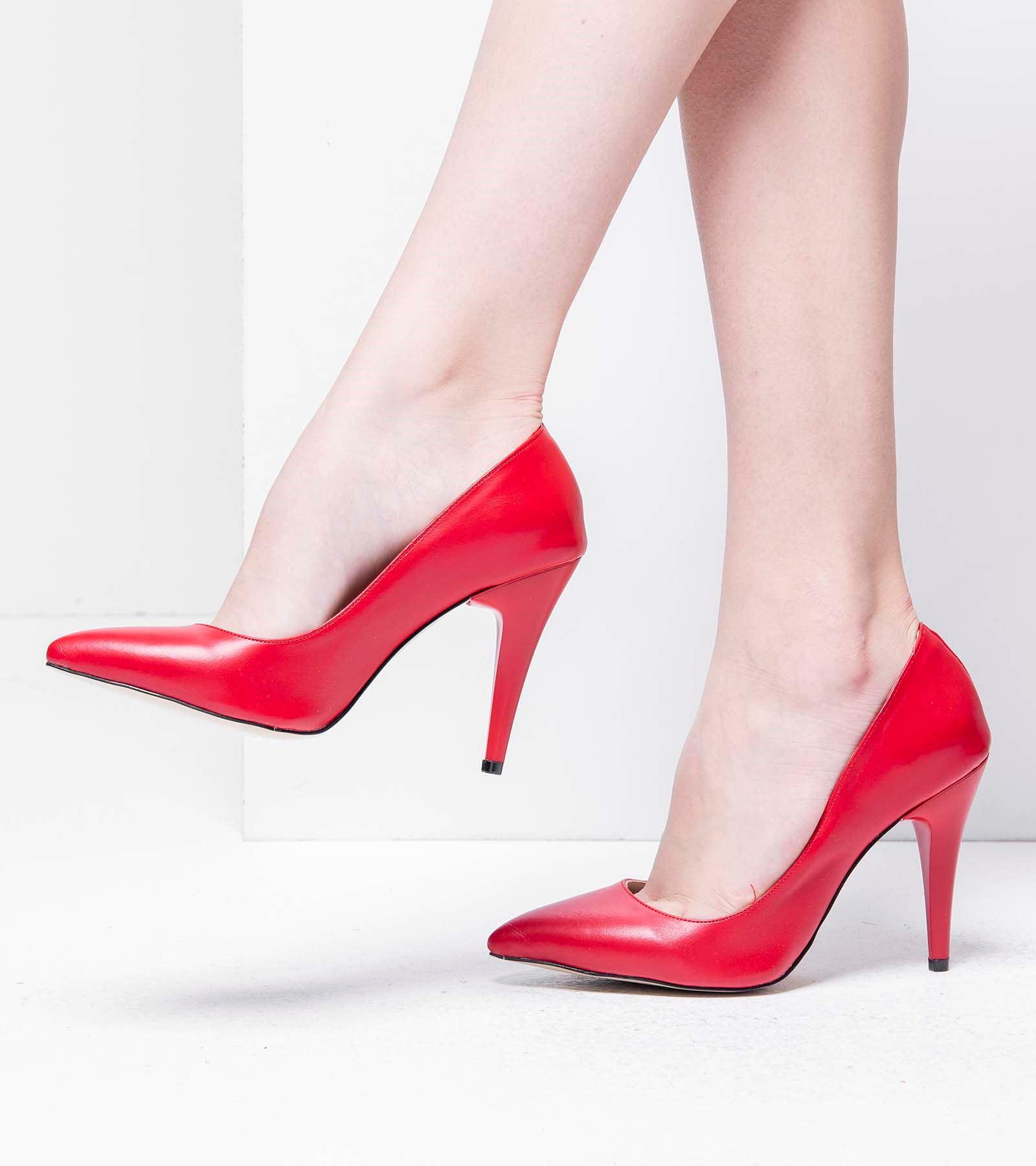 Terry İnce Topuk Cilt Stiletto Kırmızı