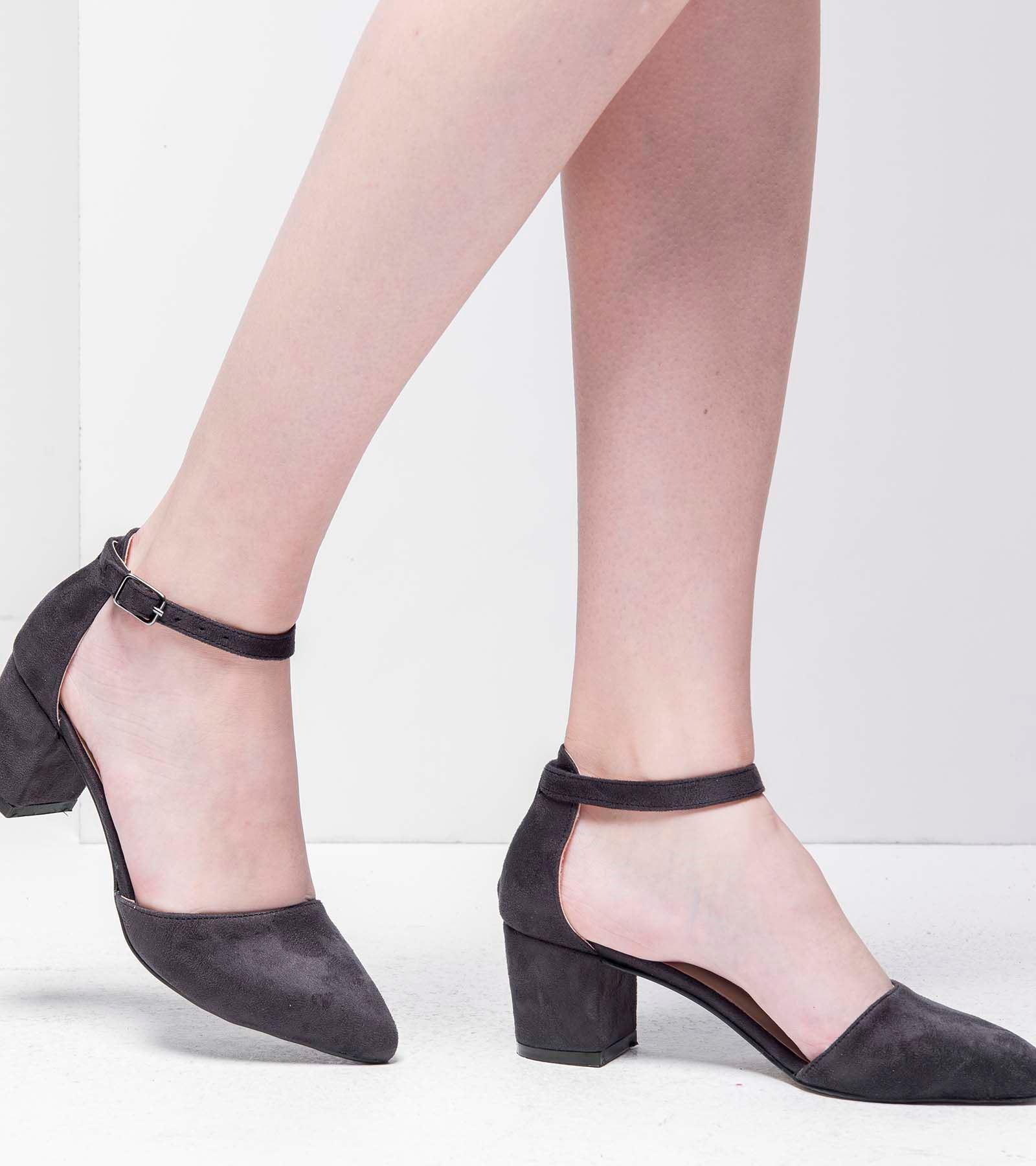 Anka Topuklu Süet Ayakkabı Koyu Siyah