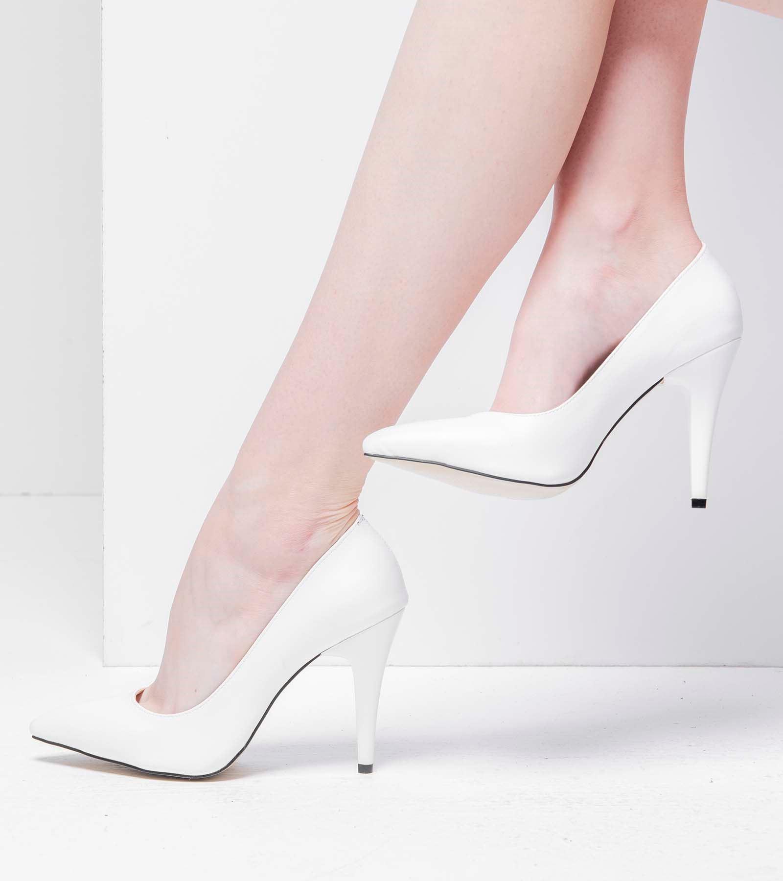 Terry İnce Topuk Cilt Stiletto Beyaz