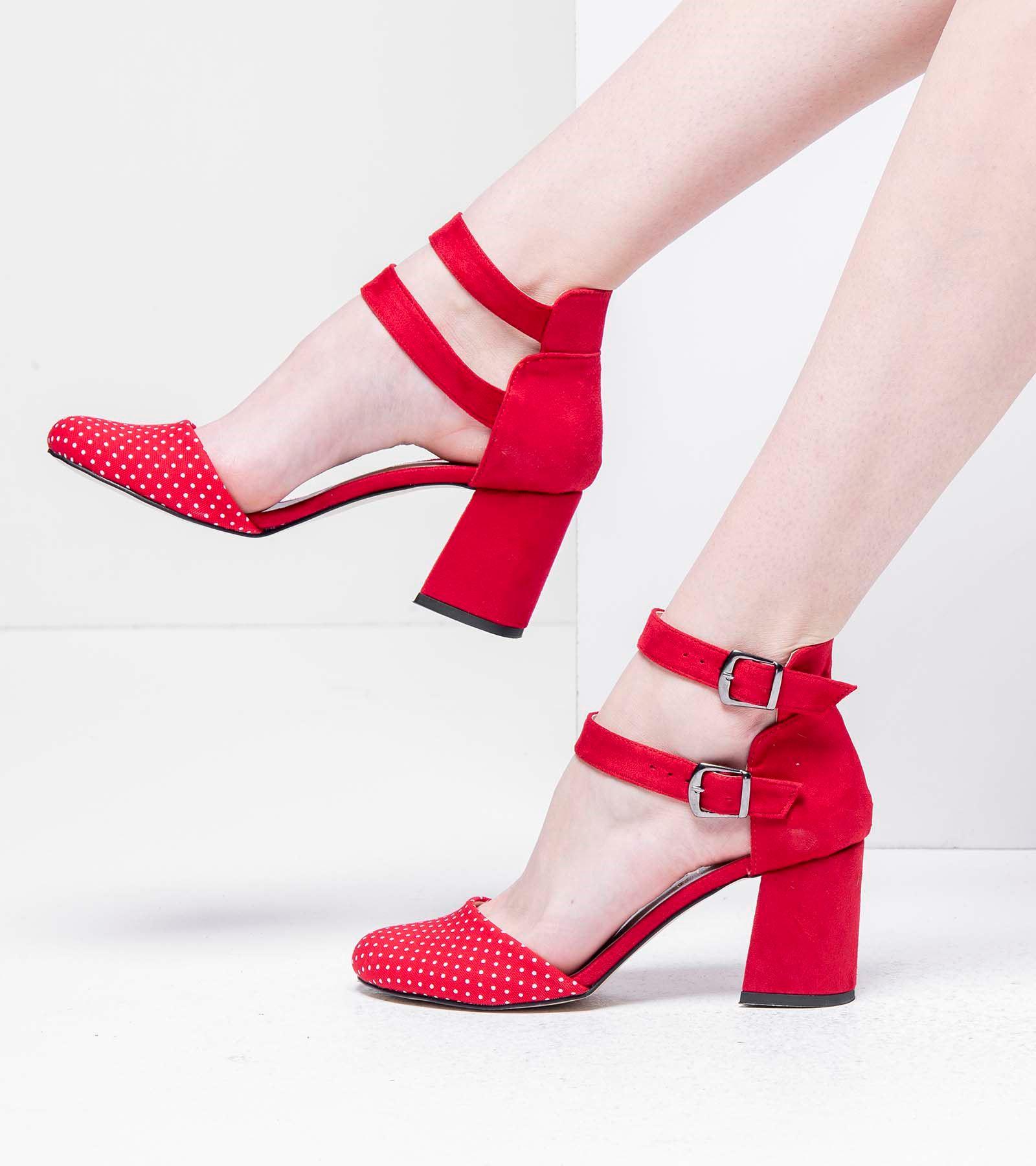 Karmen Topuklu Süet Ayakkabı Kırmızı Puantiye