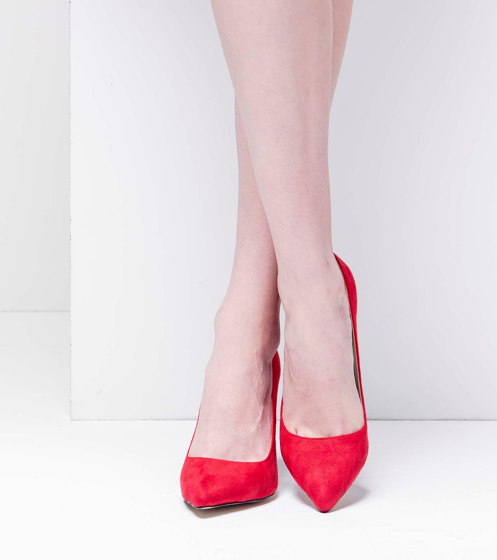 Carolina İnce Topuk Süet Stiletto Kırmızı