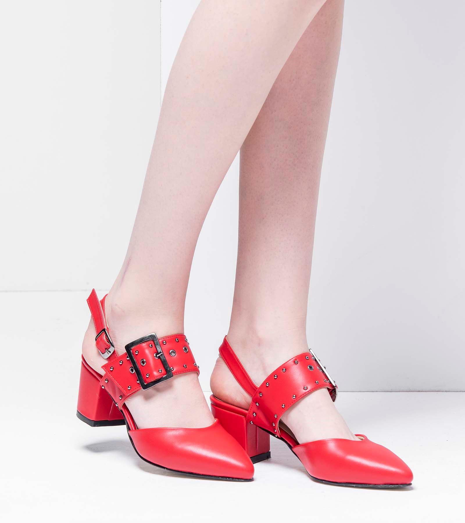 Neva Topuklu Cilt Ayakkabı Kırmızı
