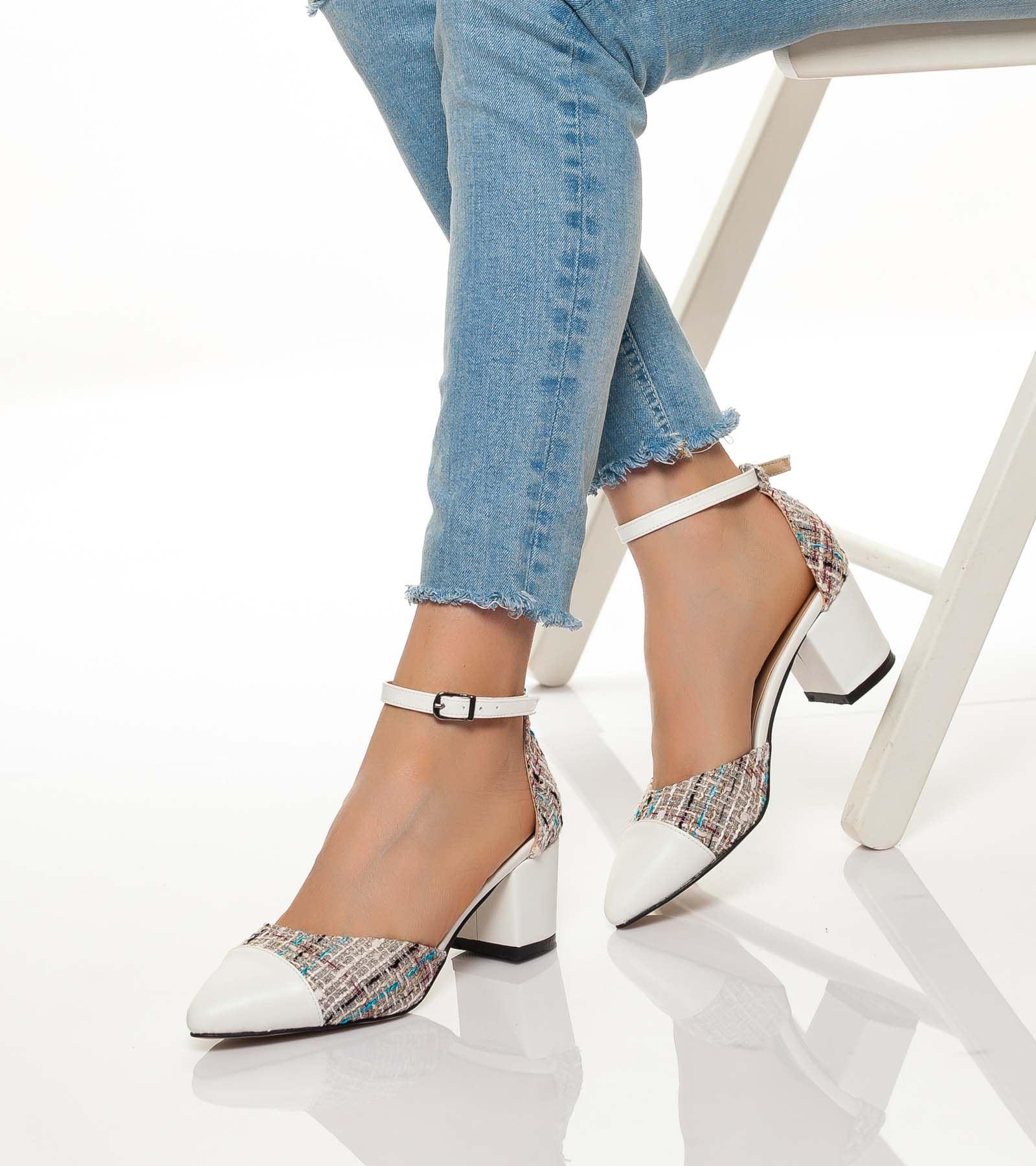 İnci Hasır Topuklu Cilt Ayakkabı Beyaz