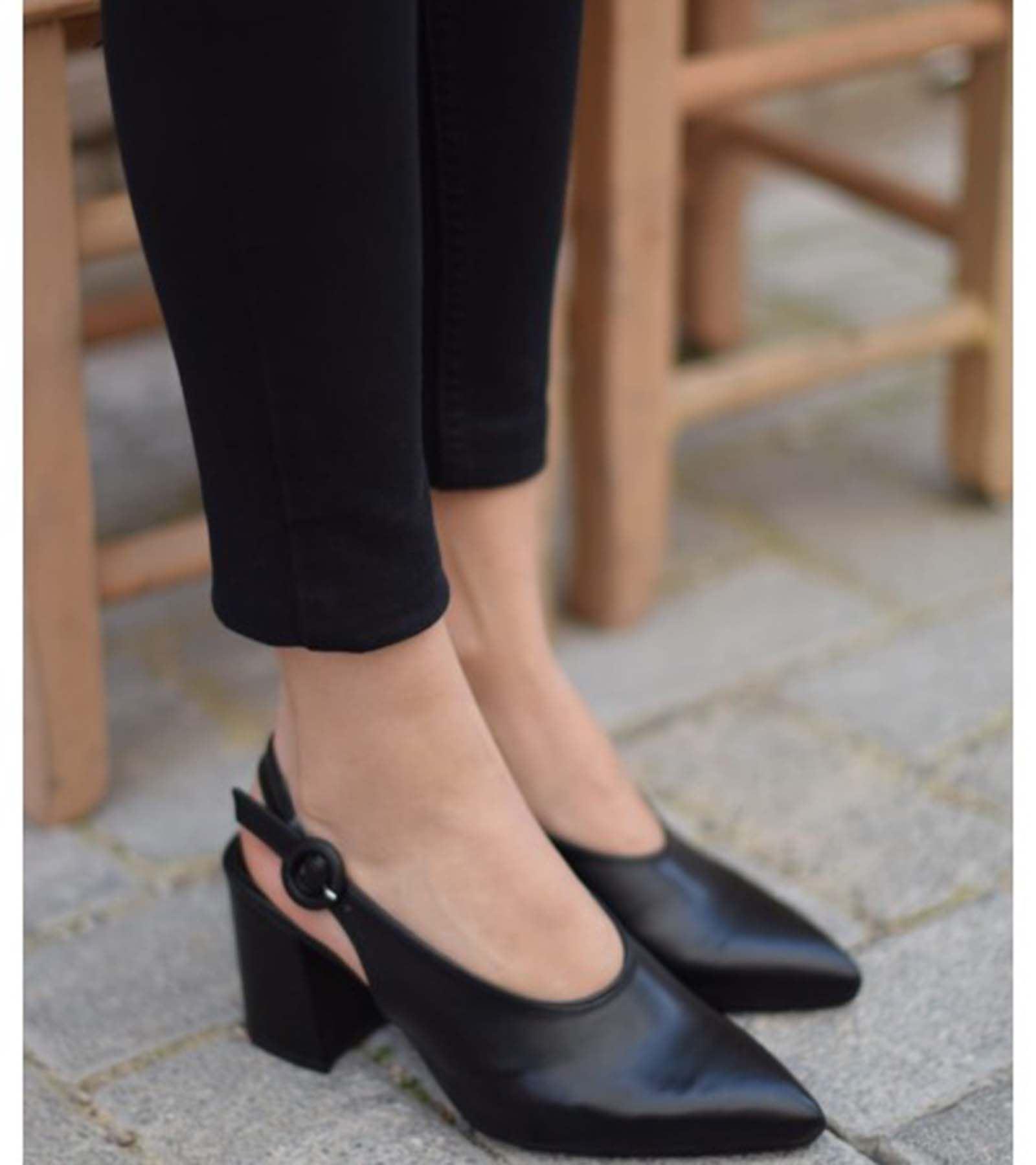 Regan Topuklu Cilt Ayakkabı Siyah