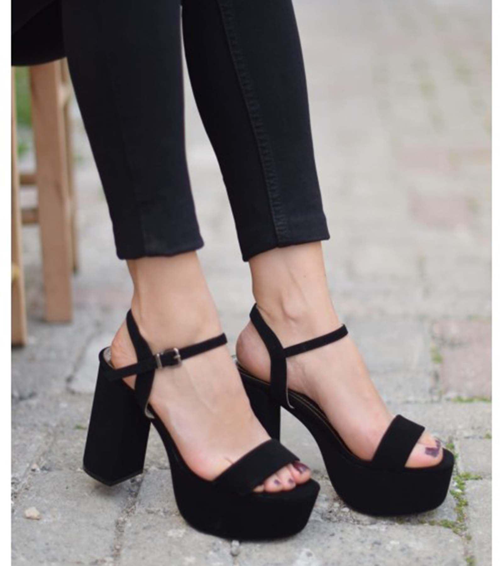 Marie Yüksek Topuk Süet Ayakkabı Siyah