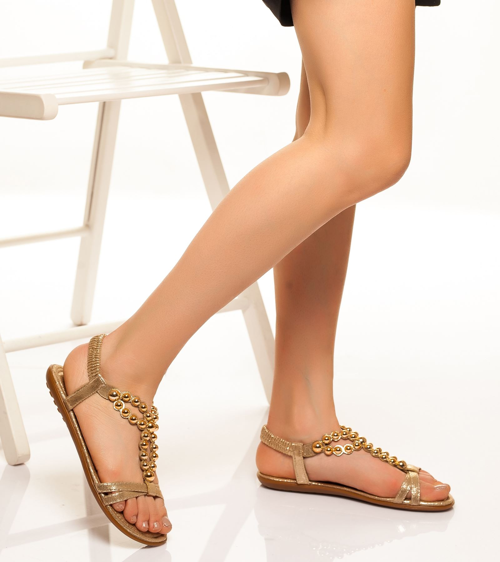 Dilara Bilekten Bağlamalı Sandalet Gold
