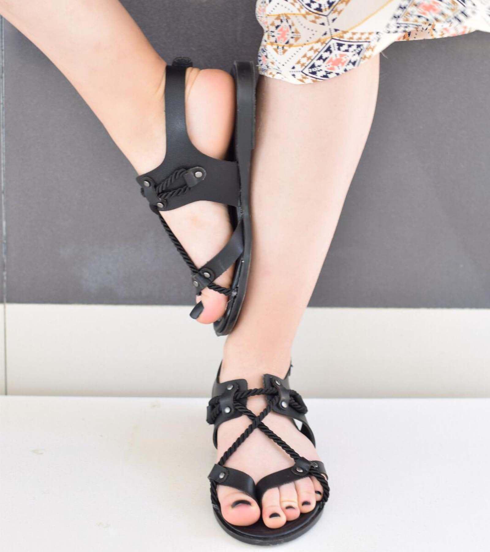 Wendy Halat Detaylı Sandalet Siyah