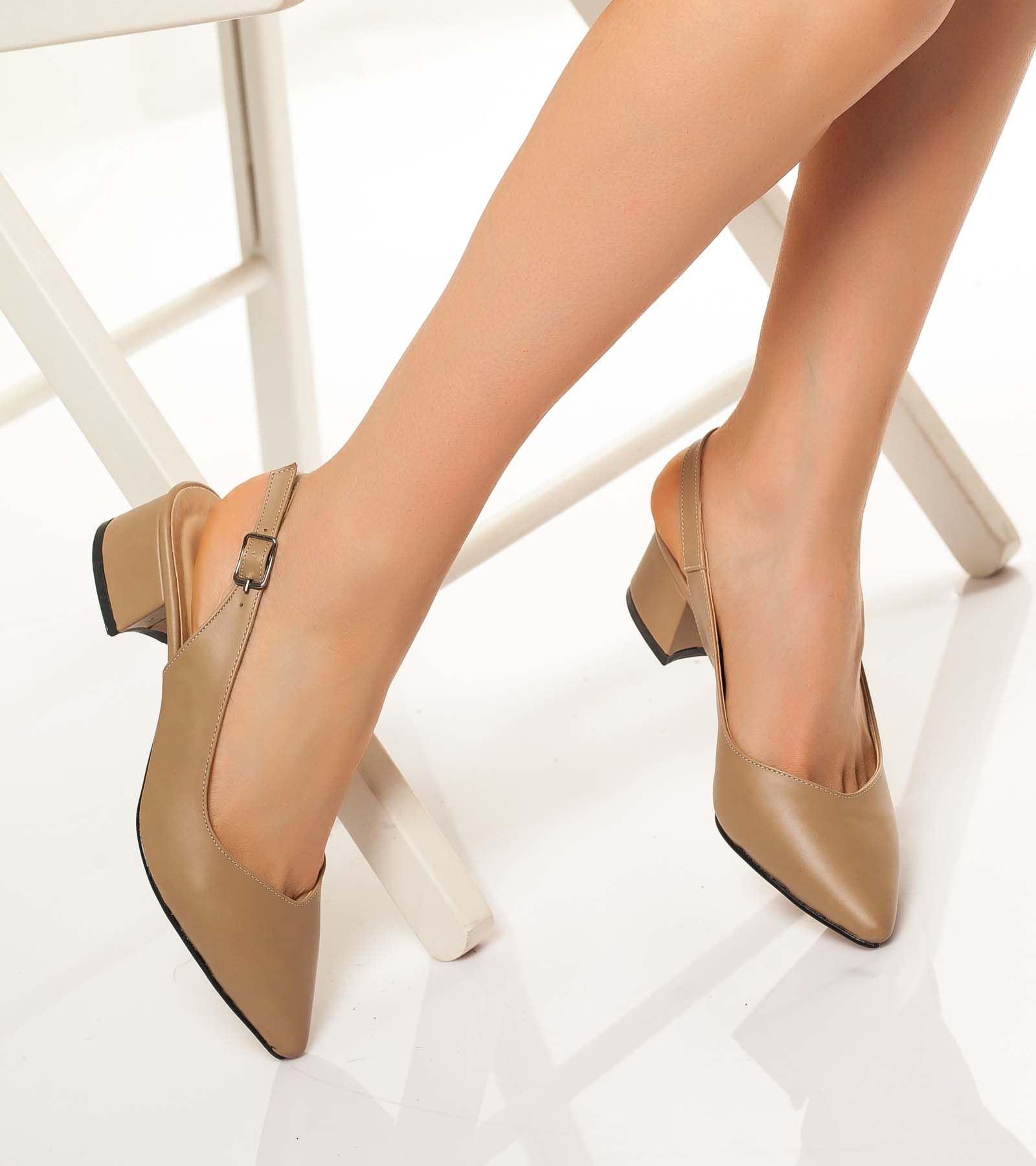 Tanya Topuğu Rugan Cilt Ayakkabı Ten