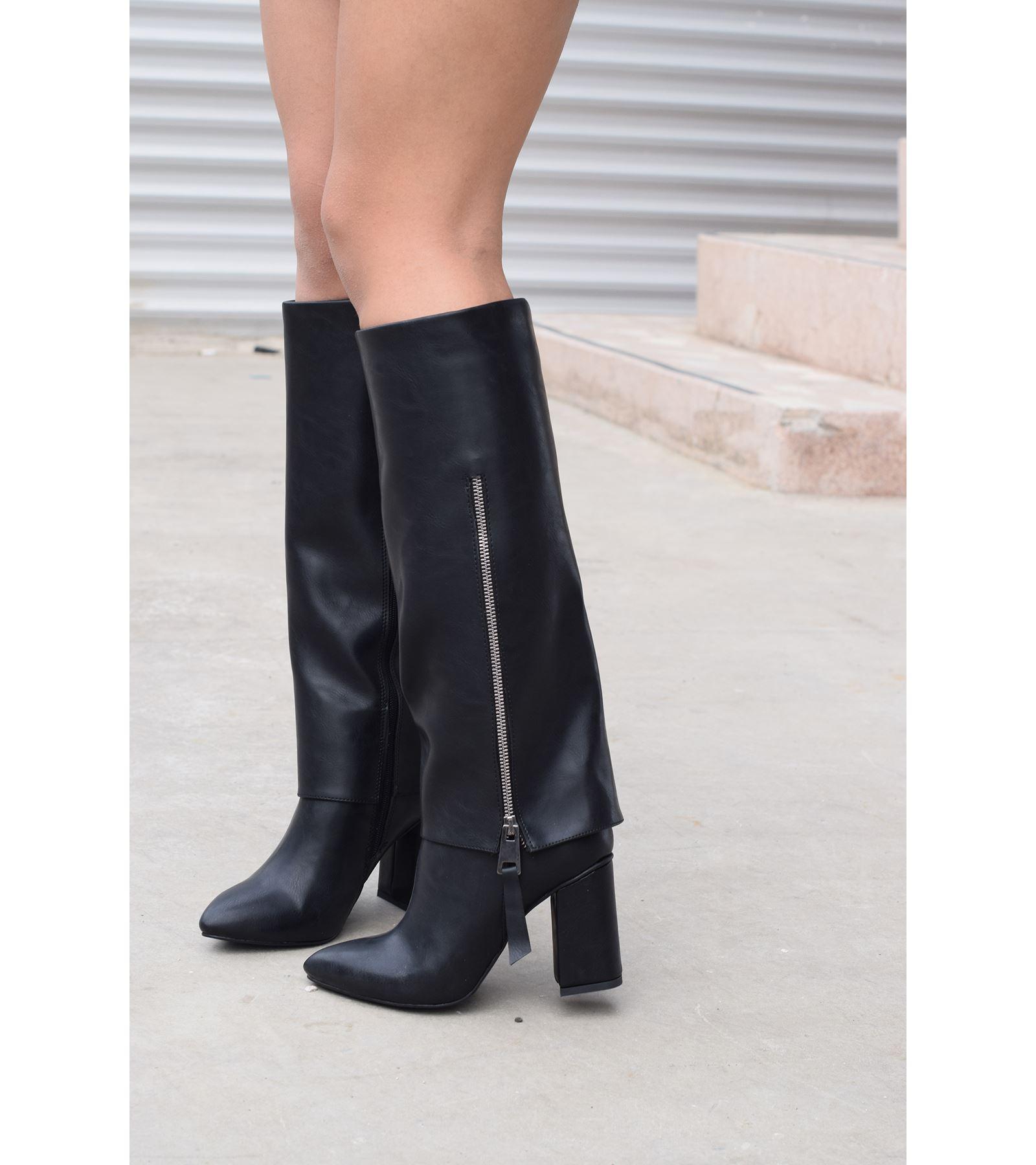 Mina Fermuar Detaylı Cilt Çizme Siyah