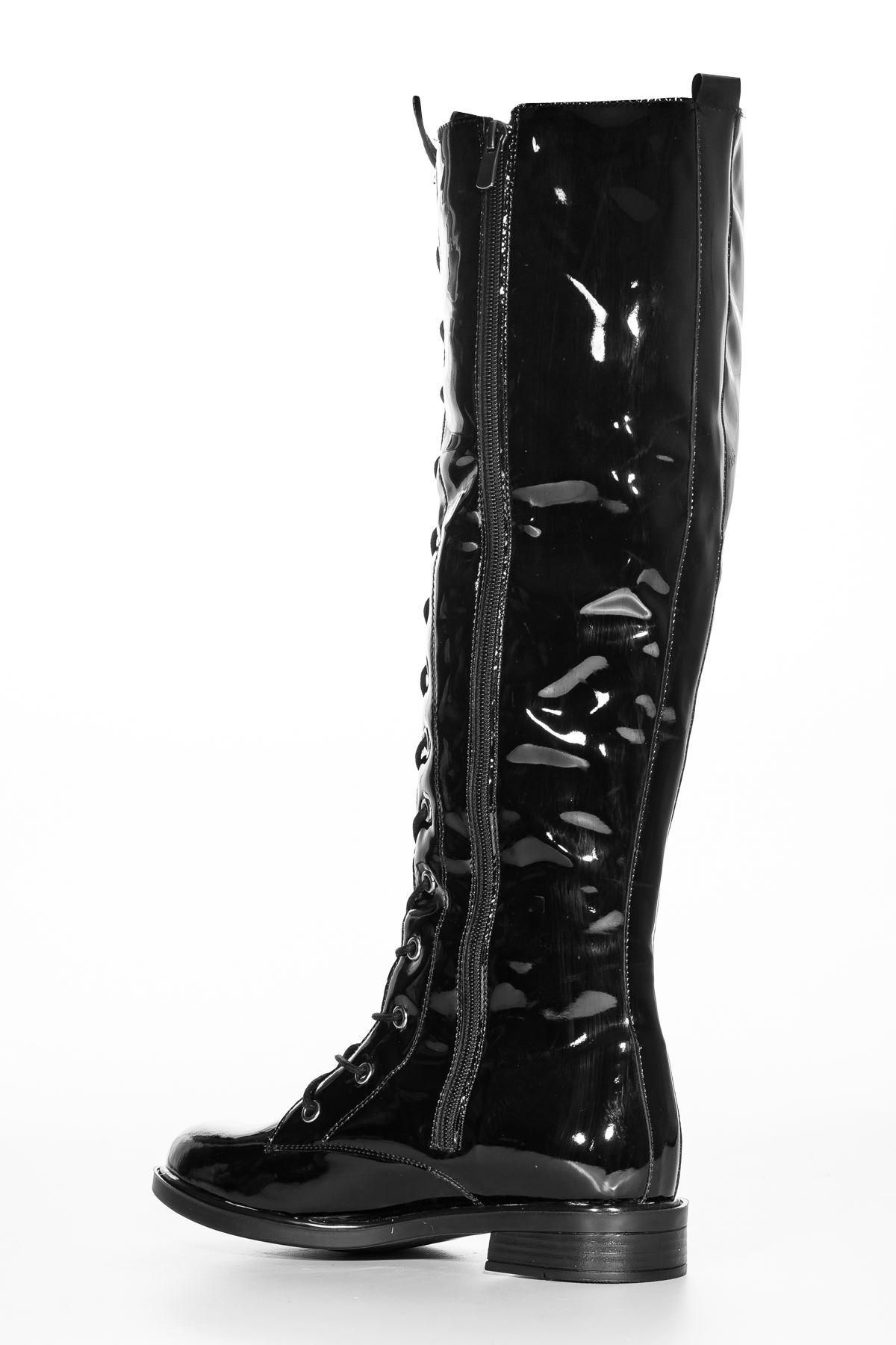 Roza Rugan Çizme Siyah