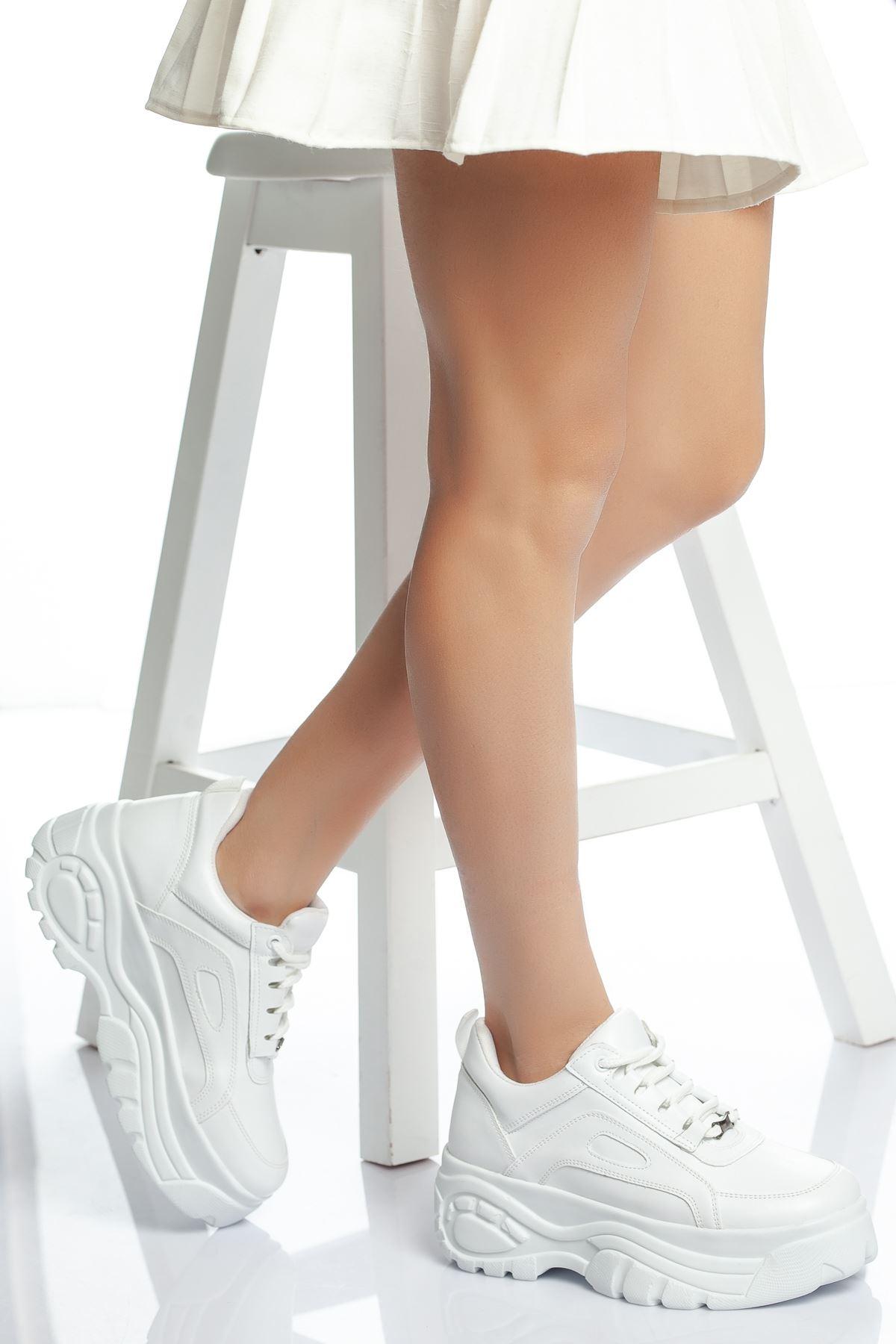 Ryan Yüksek Topuk Cilt Spor Ayakkabı Deliksiz Beyaz