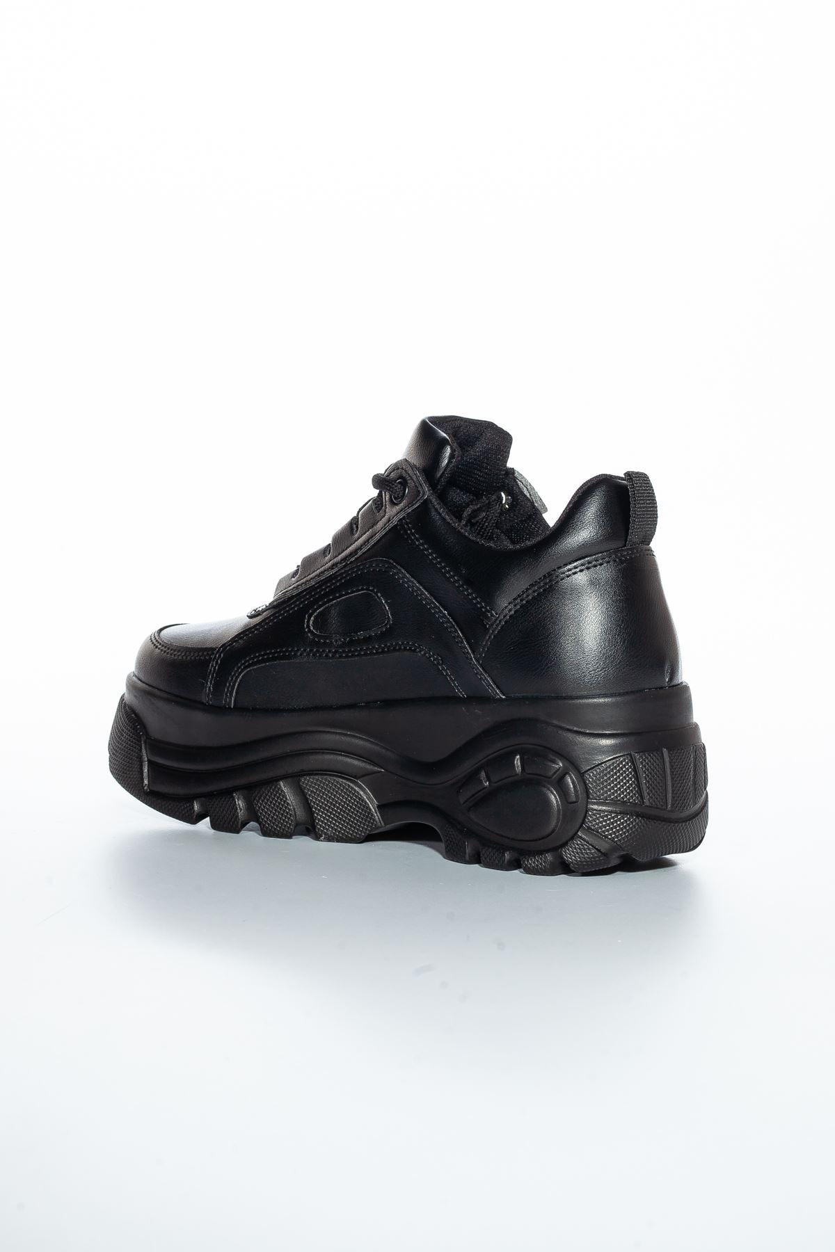 Ryan Yüksek Topuk Cilt Spor Ayakkabı Siyah