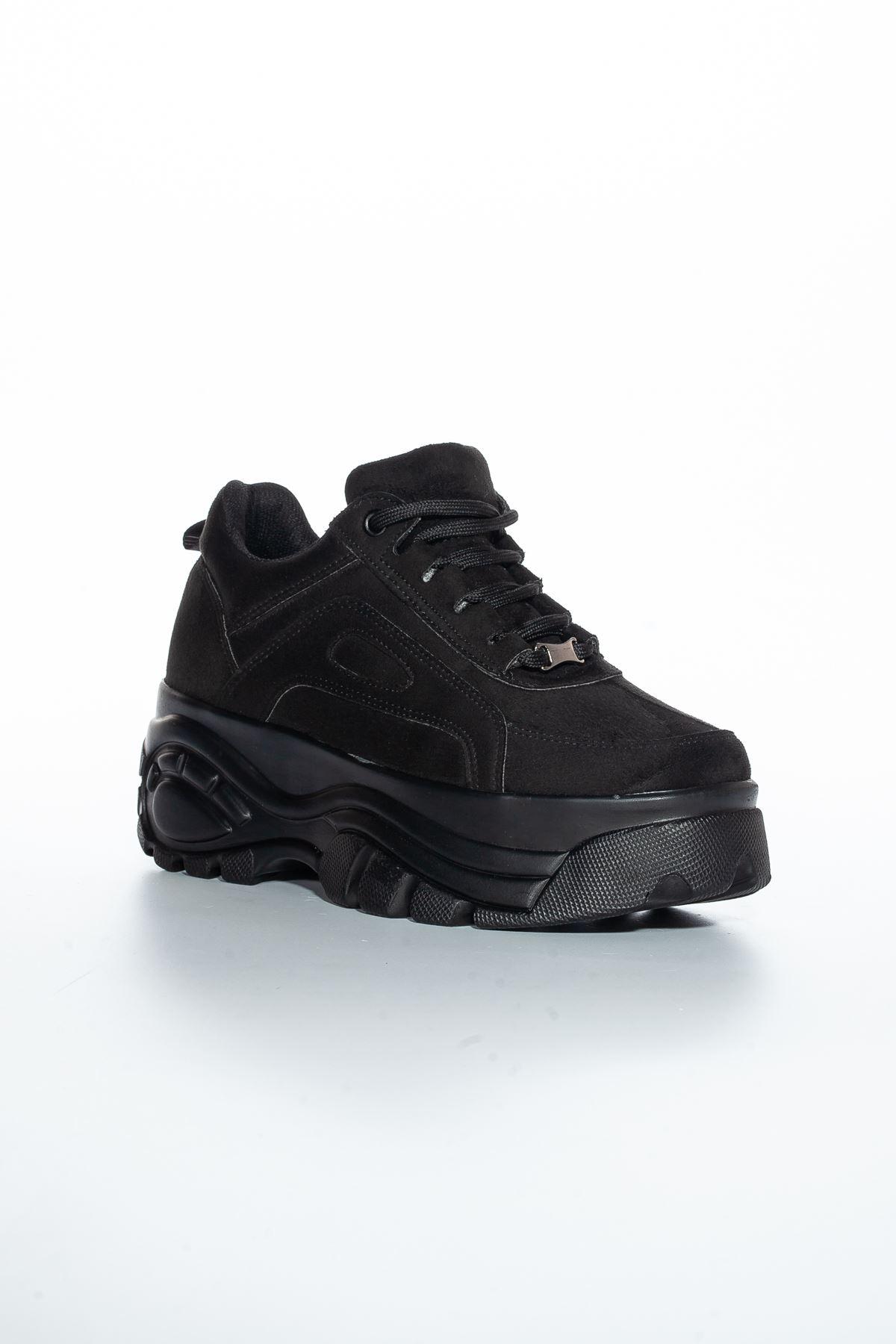 Chris Yüksek Topuk Süet Spor Ayakkabı Siyah