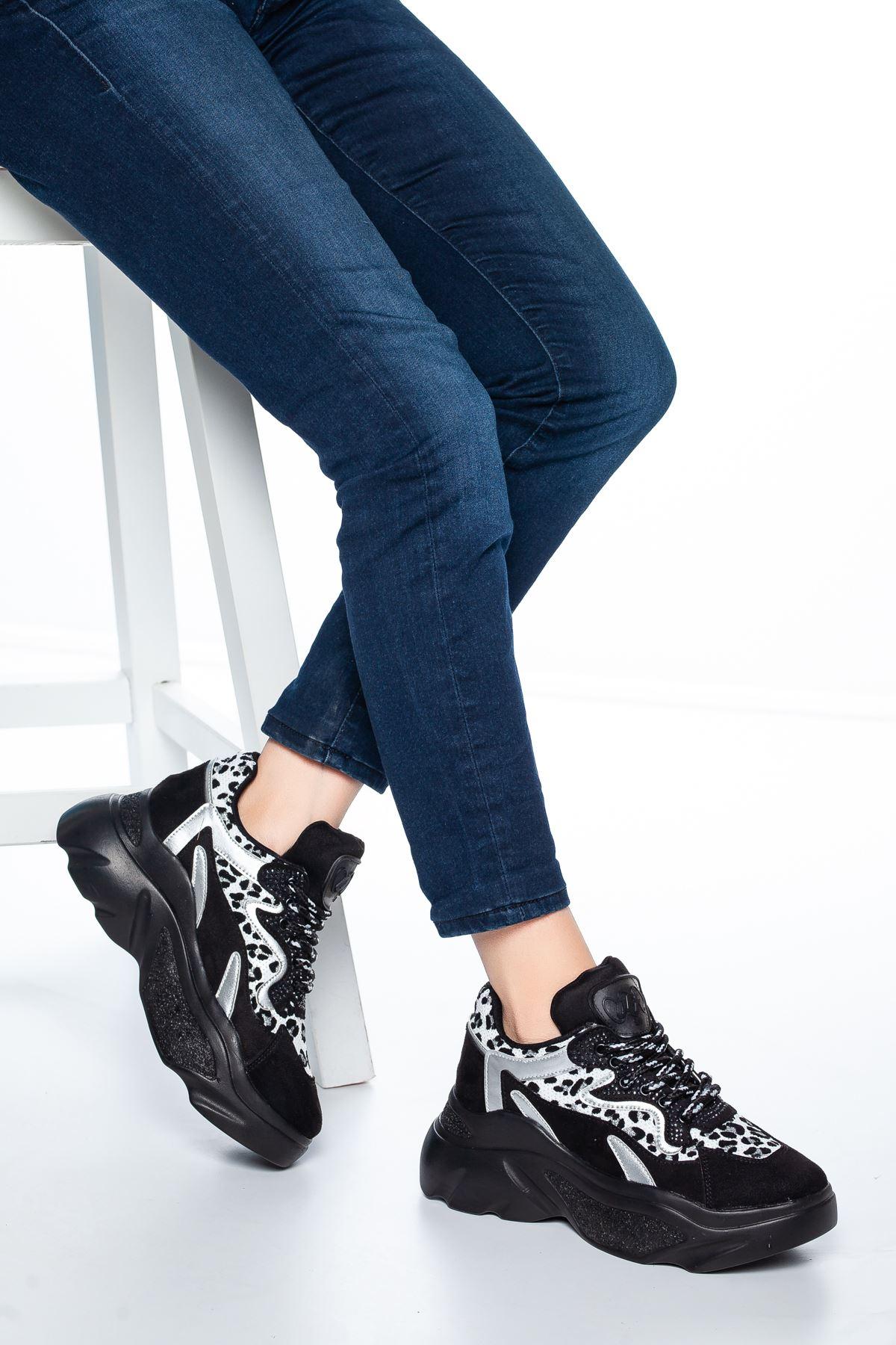 Dany Leopar Detaylı Sneakers Siyah