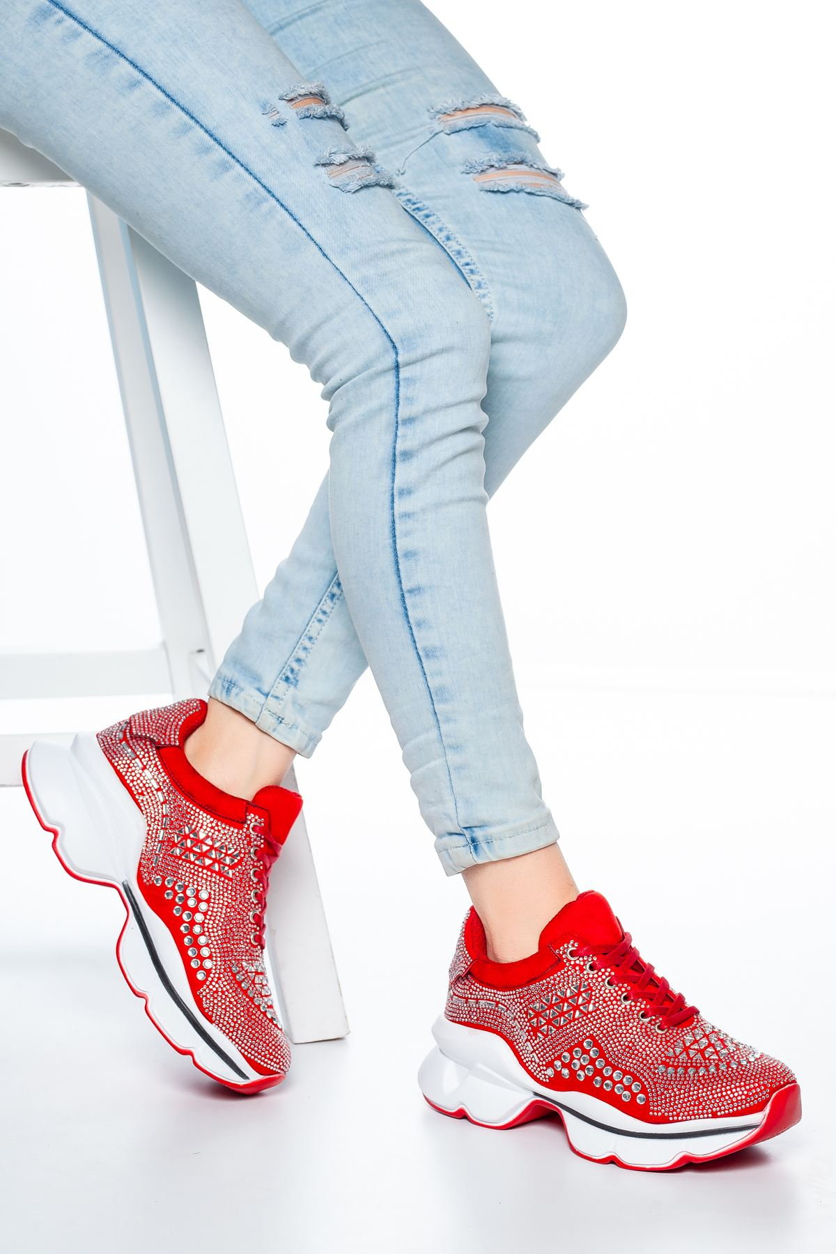 Sanya Taş Detaylı Sneakers Kırmızı