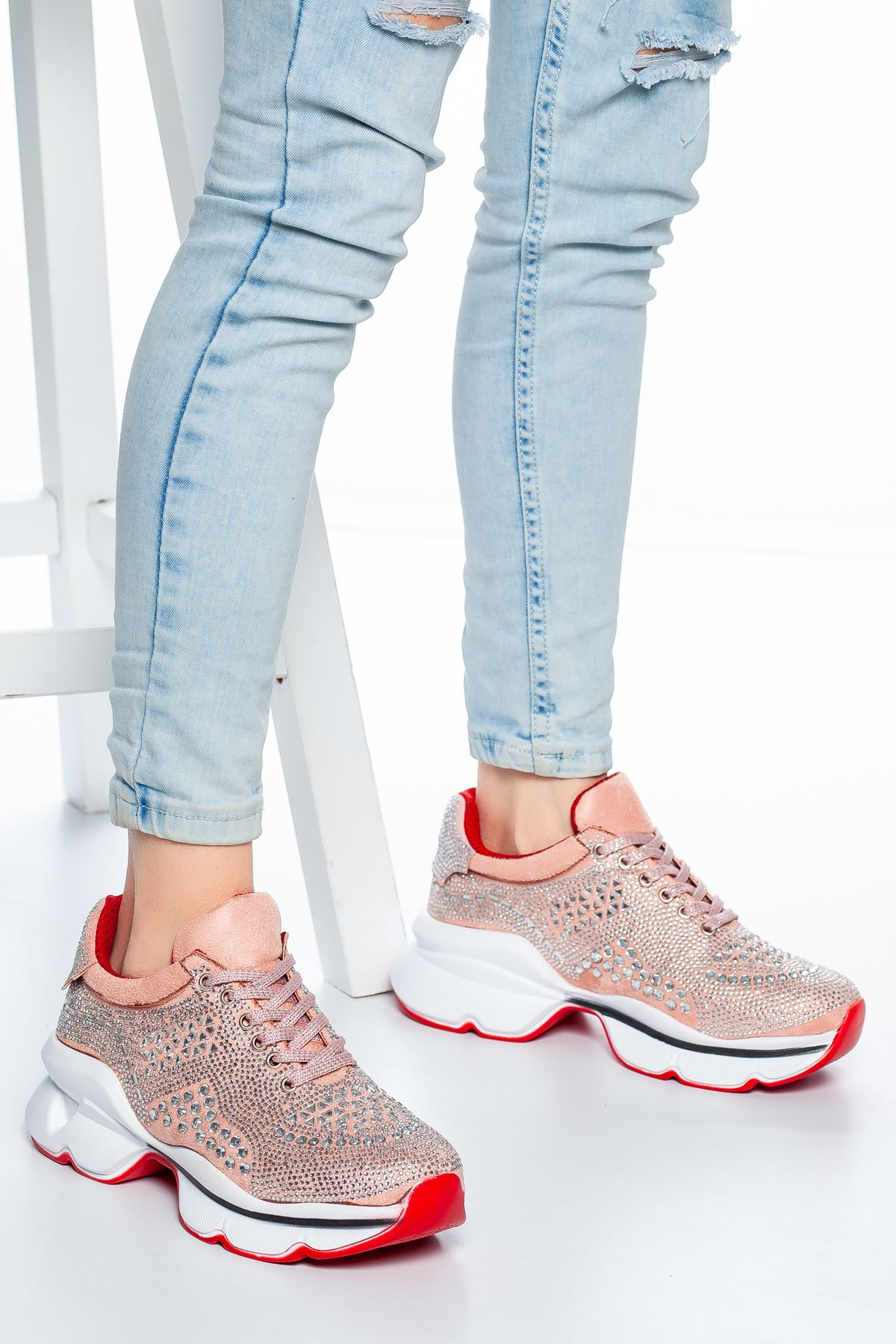 Sanya Taş Detaylı Sneakers Pudra