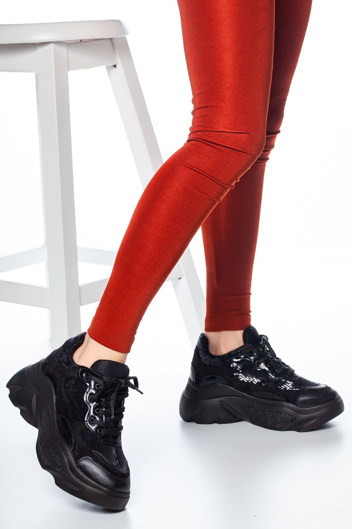 Buffery Pullu Sneakers Siyah