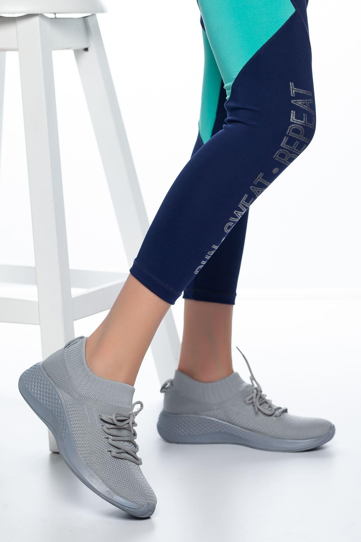 Noya Bağcıklı Çorap Spor Gri