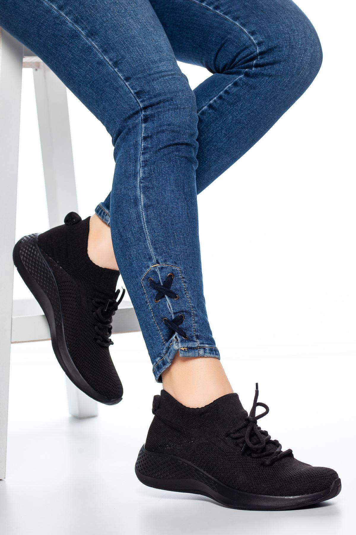 Noya Bağcıklı Çorap Spor Siyah
