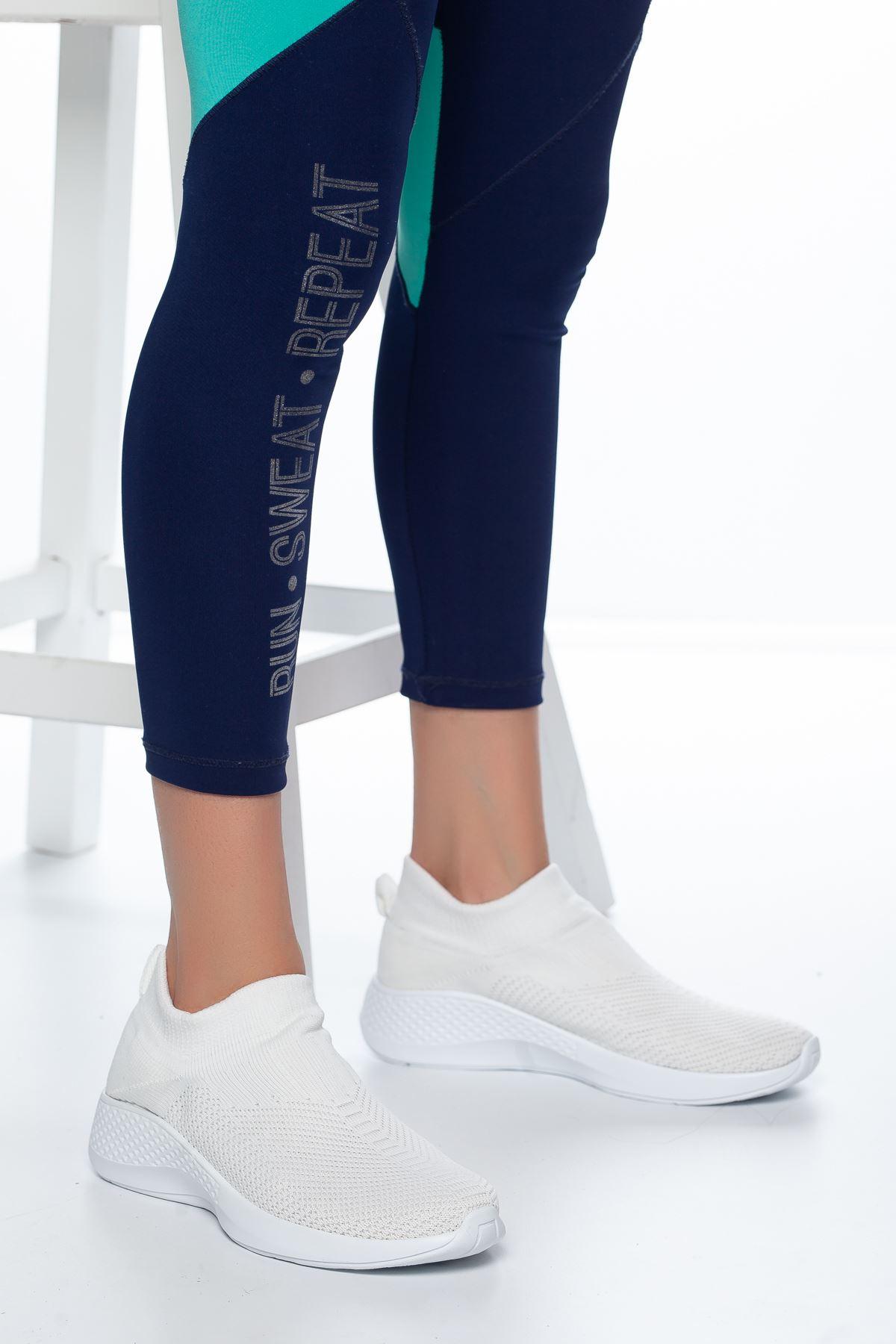 Nolan Lastikli Çorap Spor Beyaz