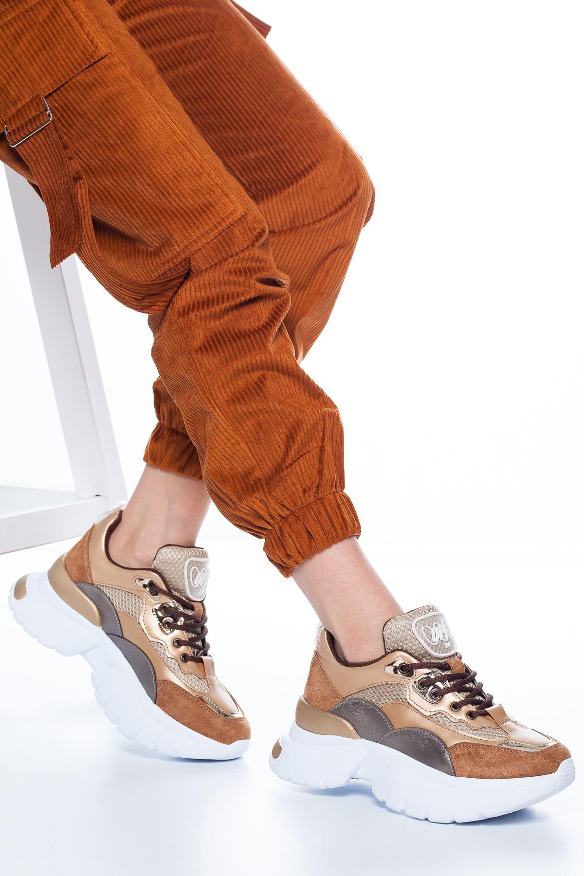 Tandor File Detaylı Sneakers Taba