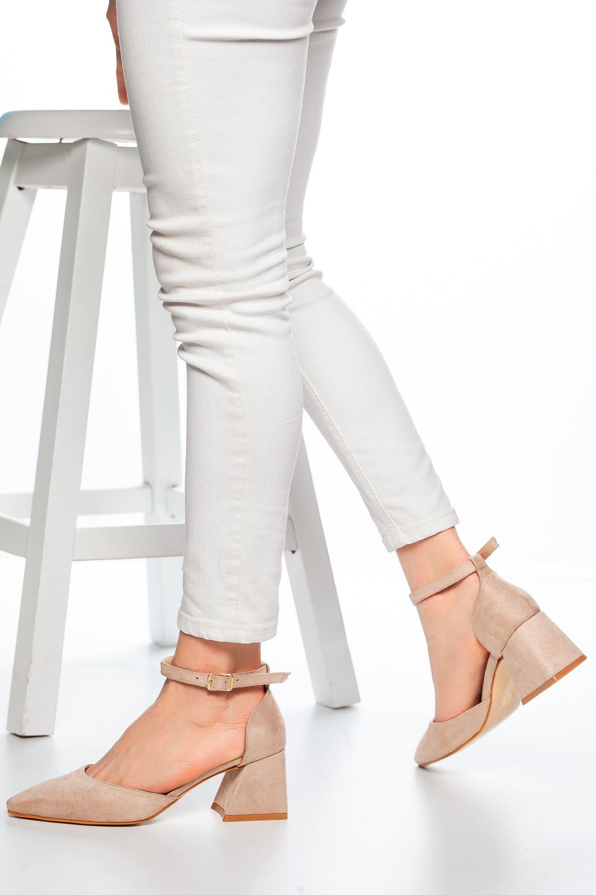 Nadia Topuklu Süet Ayakkabı Ten