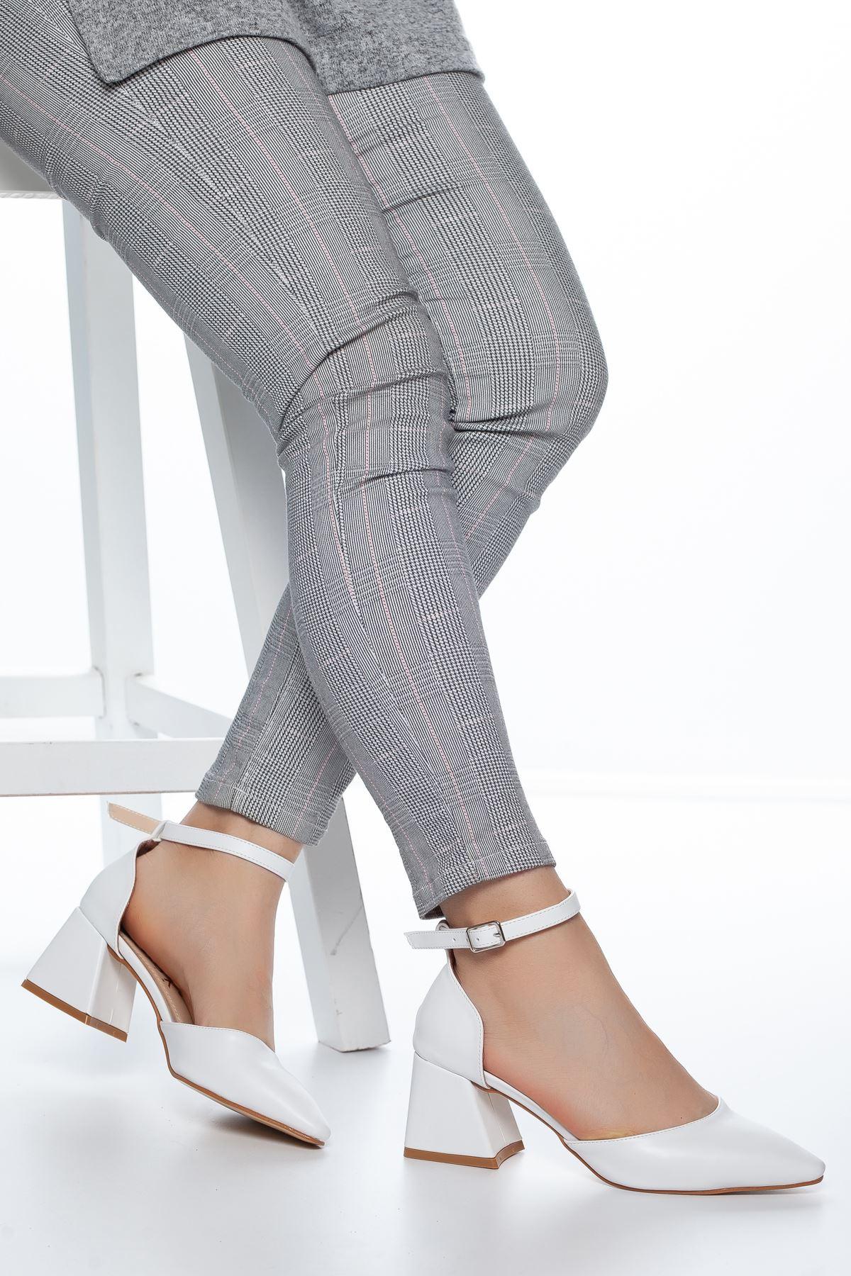Nadia Topuklu Cilt Ayakkabı Beyaz