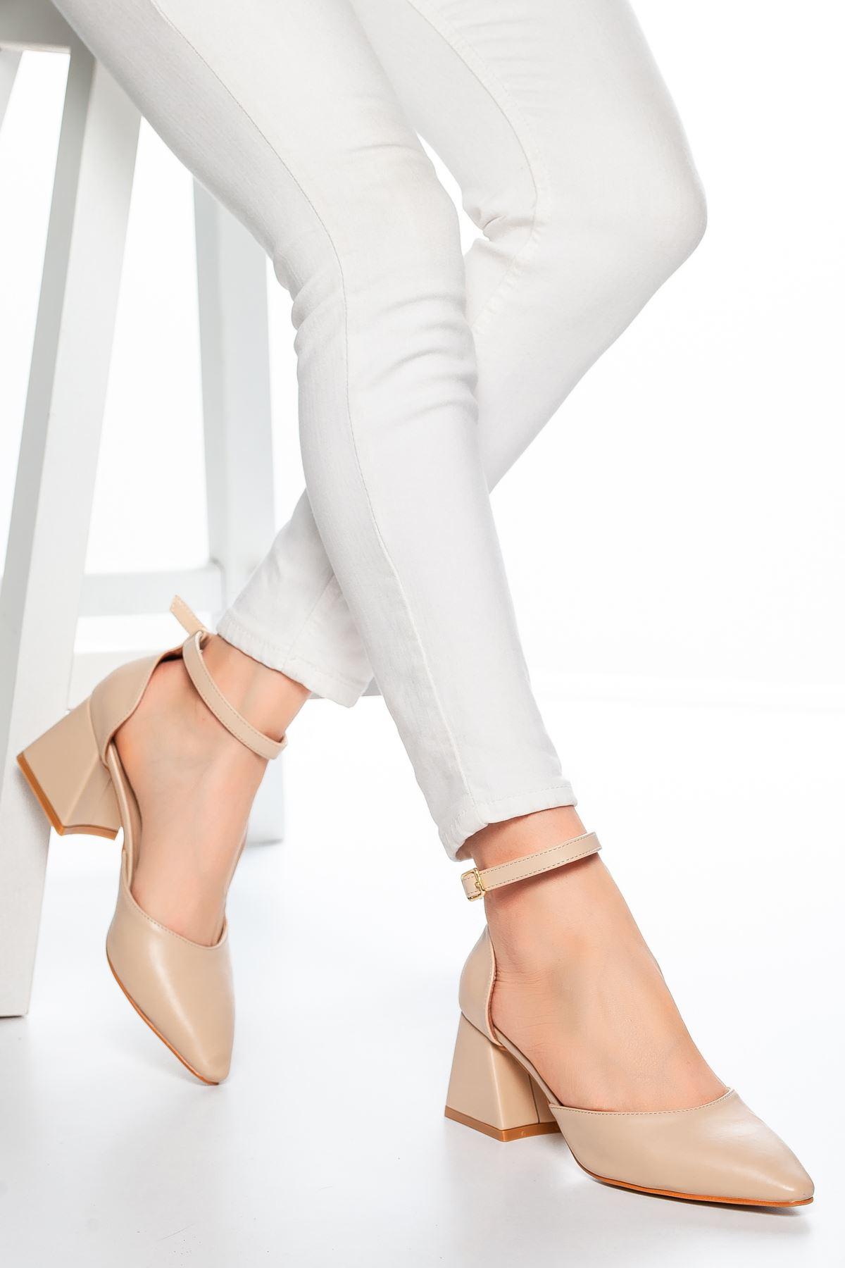 Nadia Topuklu Cilt Ayakkabı Ten
