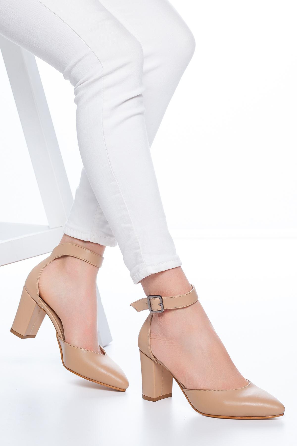 Celos Topuklu Cilt Ayakkabı Ten