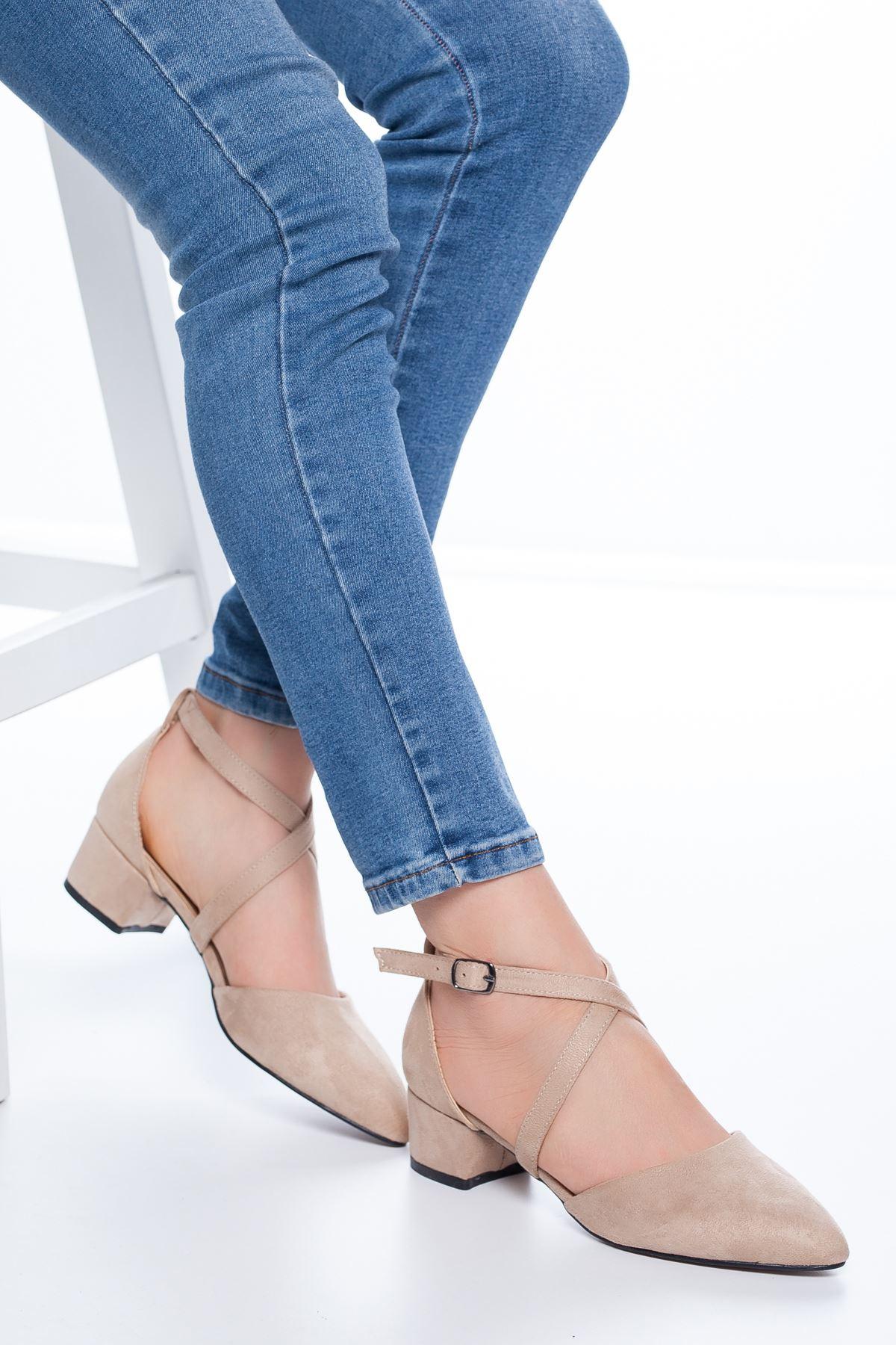 Lexon Topuklu Süet Ayakkabı Ten