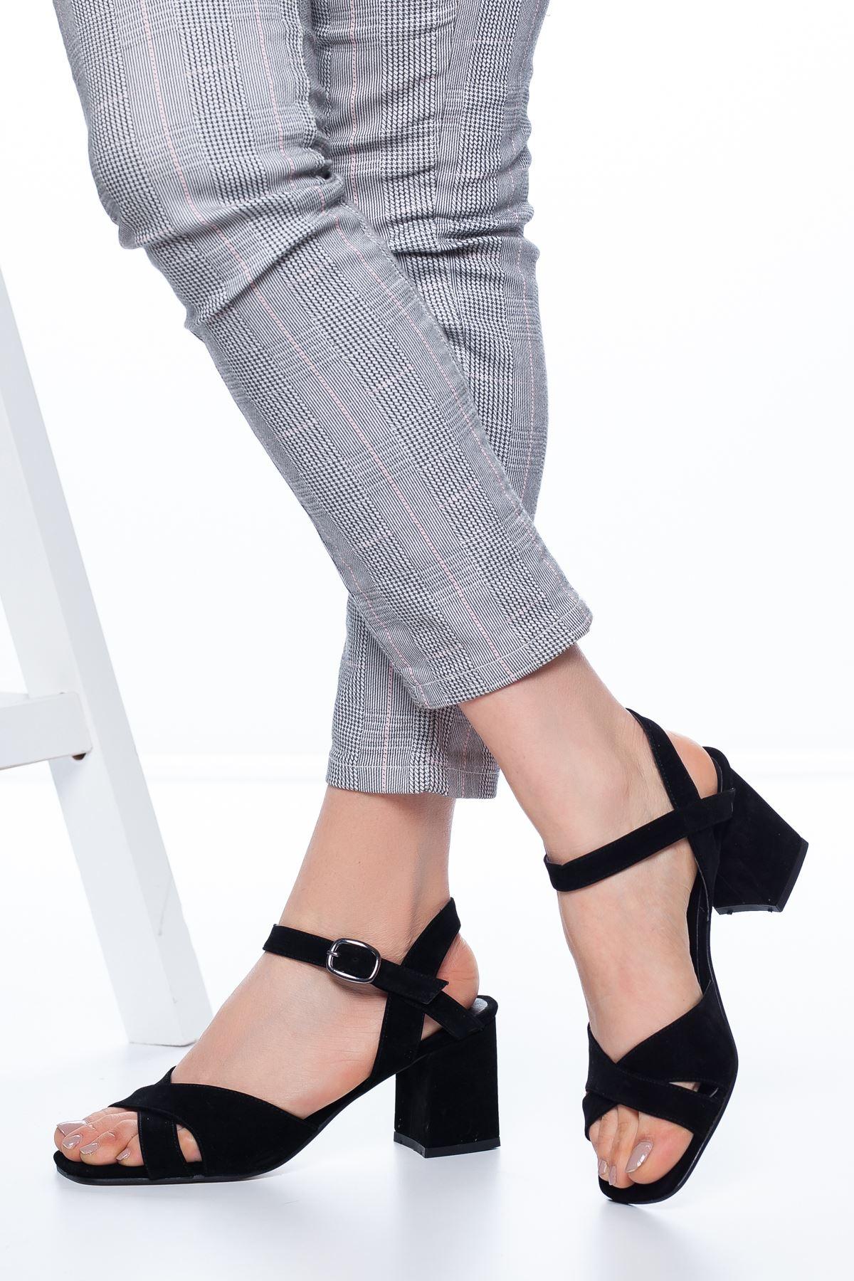 Samy Topuklu Süet Ayakkabı Siyah