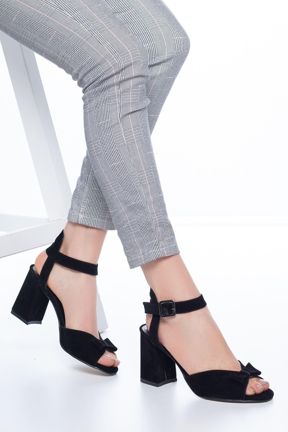 Deborah Topuklu Süet Ayakkabı Siyah