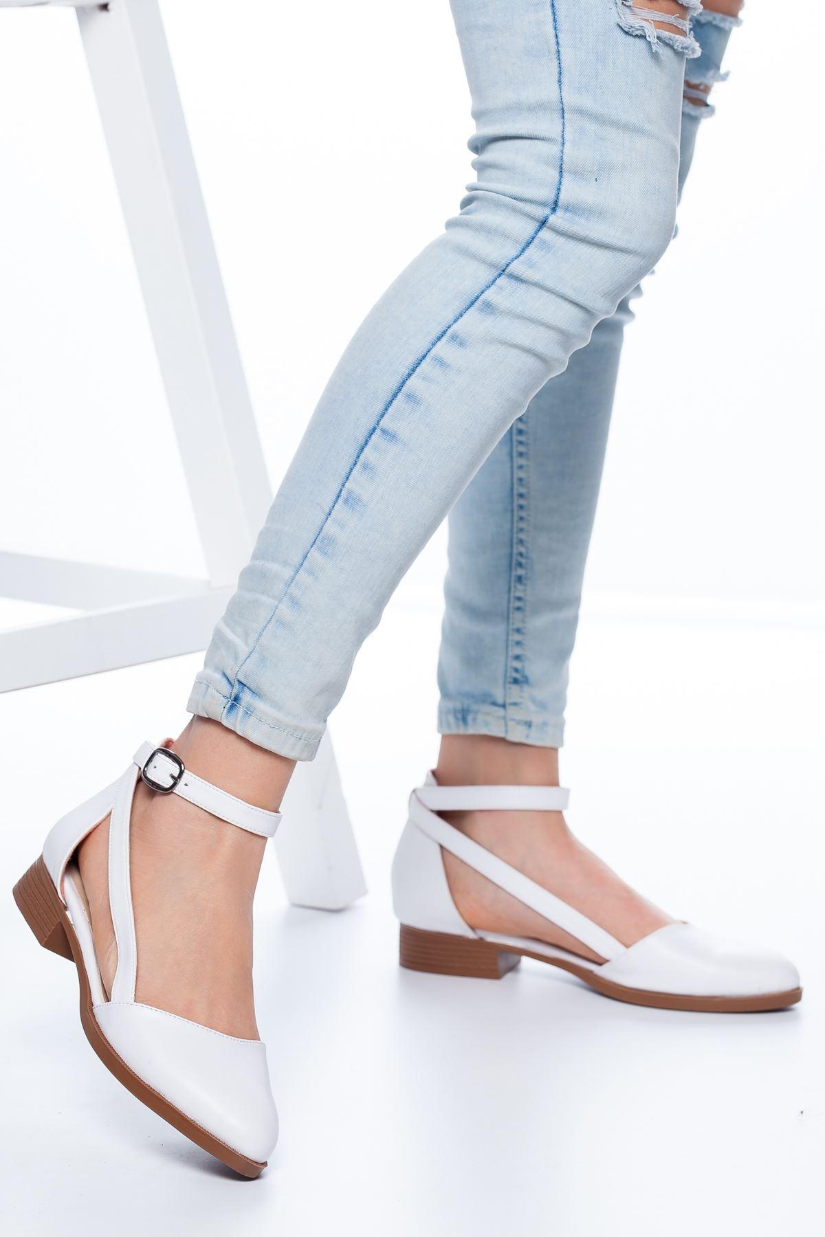 Rayna Kısa Topuk  Cilt Ayakkabı Beyaz